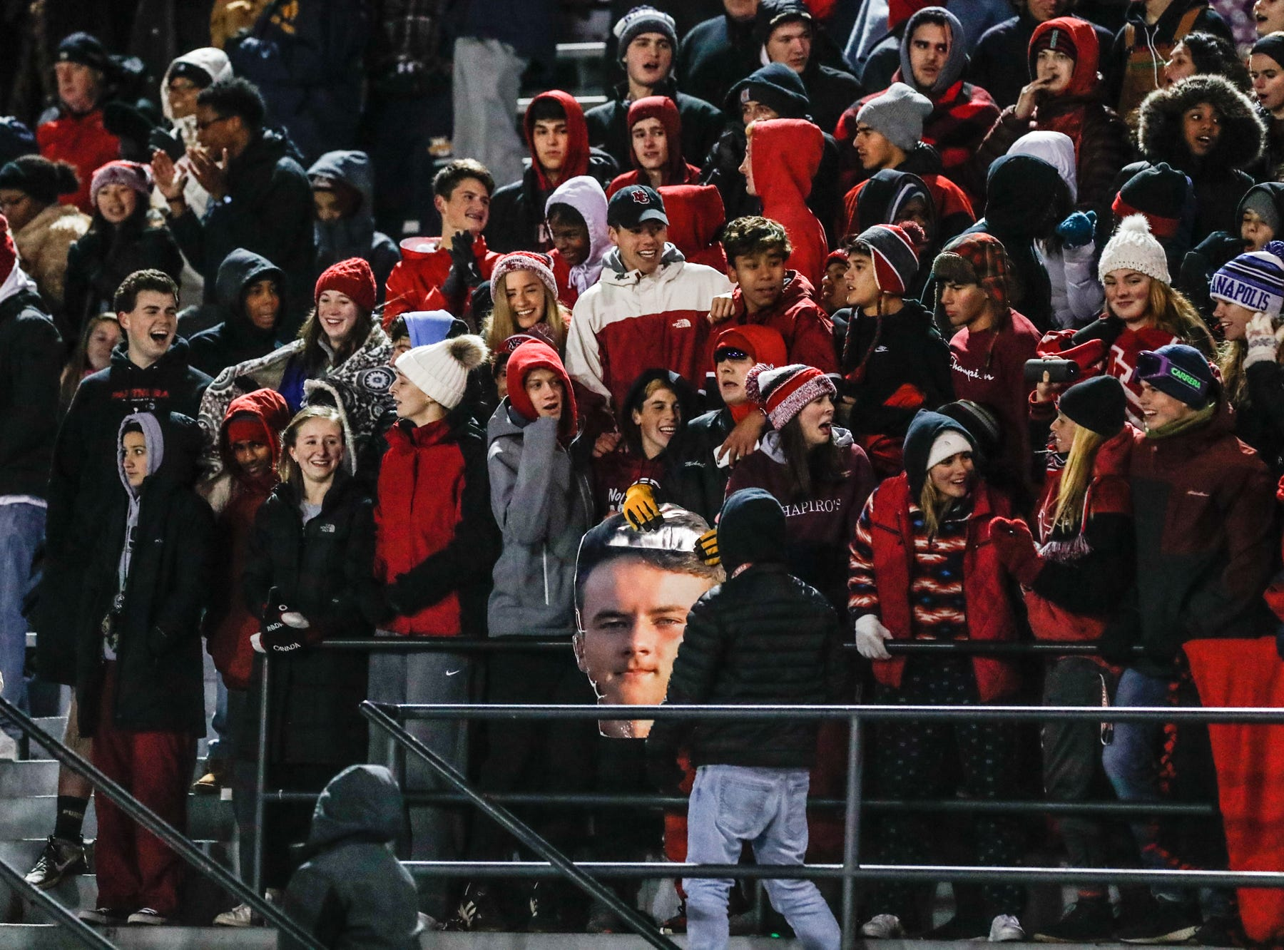 Fans go crazy during a regional finals game between the  North Central High School Panthers an the Warren Central High School Warriors at North Central High School on Friday, Nov. 9, 2018.
