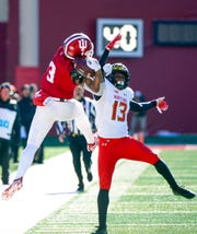 Indiana Hoosiers wide receiver Ty Fryfogle (3) attempts to catch a pass during the game against Maryland at Memorial Stadium in Bloomington, Ind., on Satuday, Nov. 10, 2018.