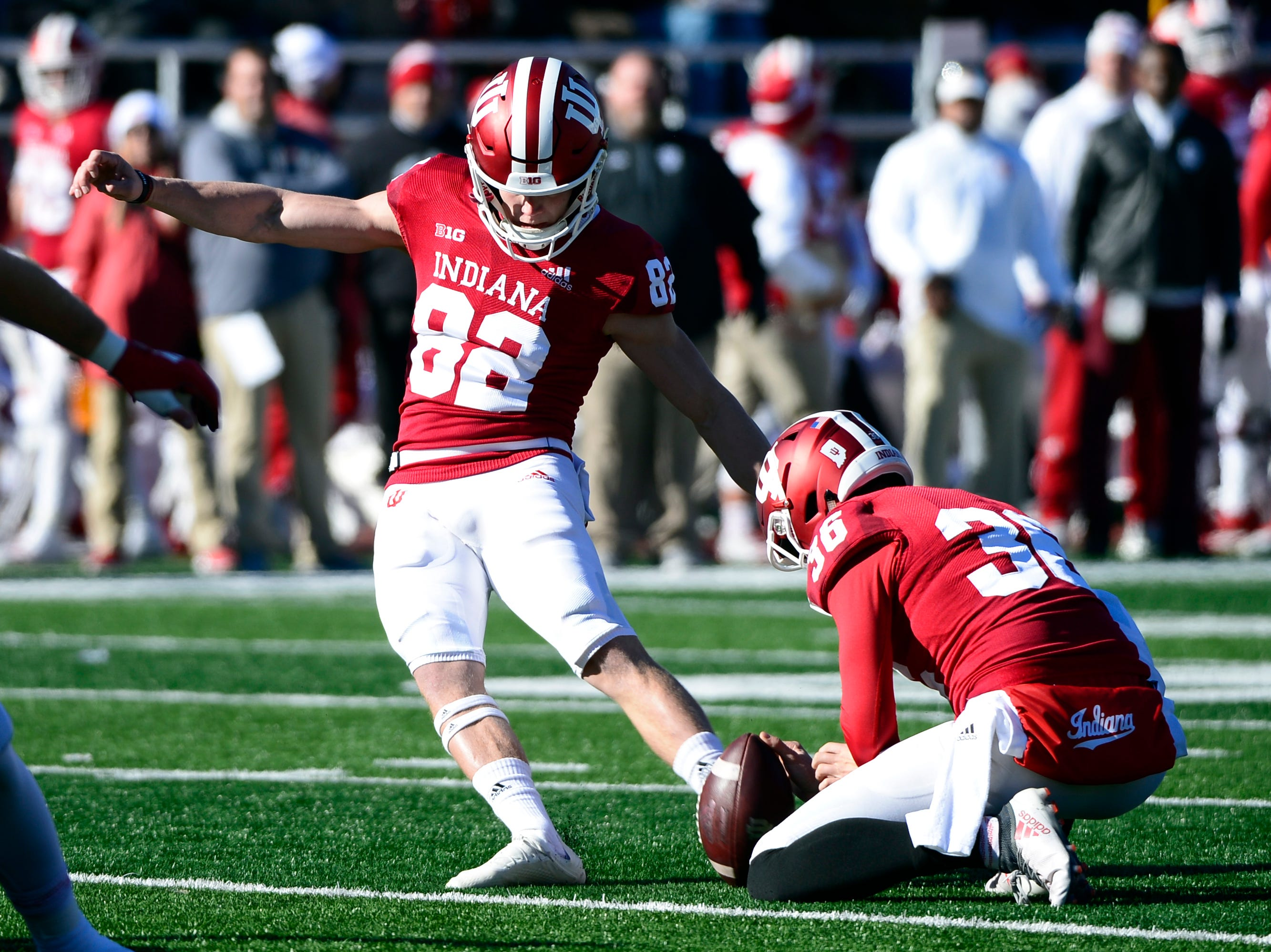 Indiana Hoosiers kicker Logan Justus (82) makes an extra point attempt during the game against Maryland at Memorial Stadium in Bloomington, Ind., on Satuday, Nov. 10, 2018.