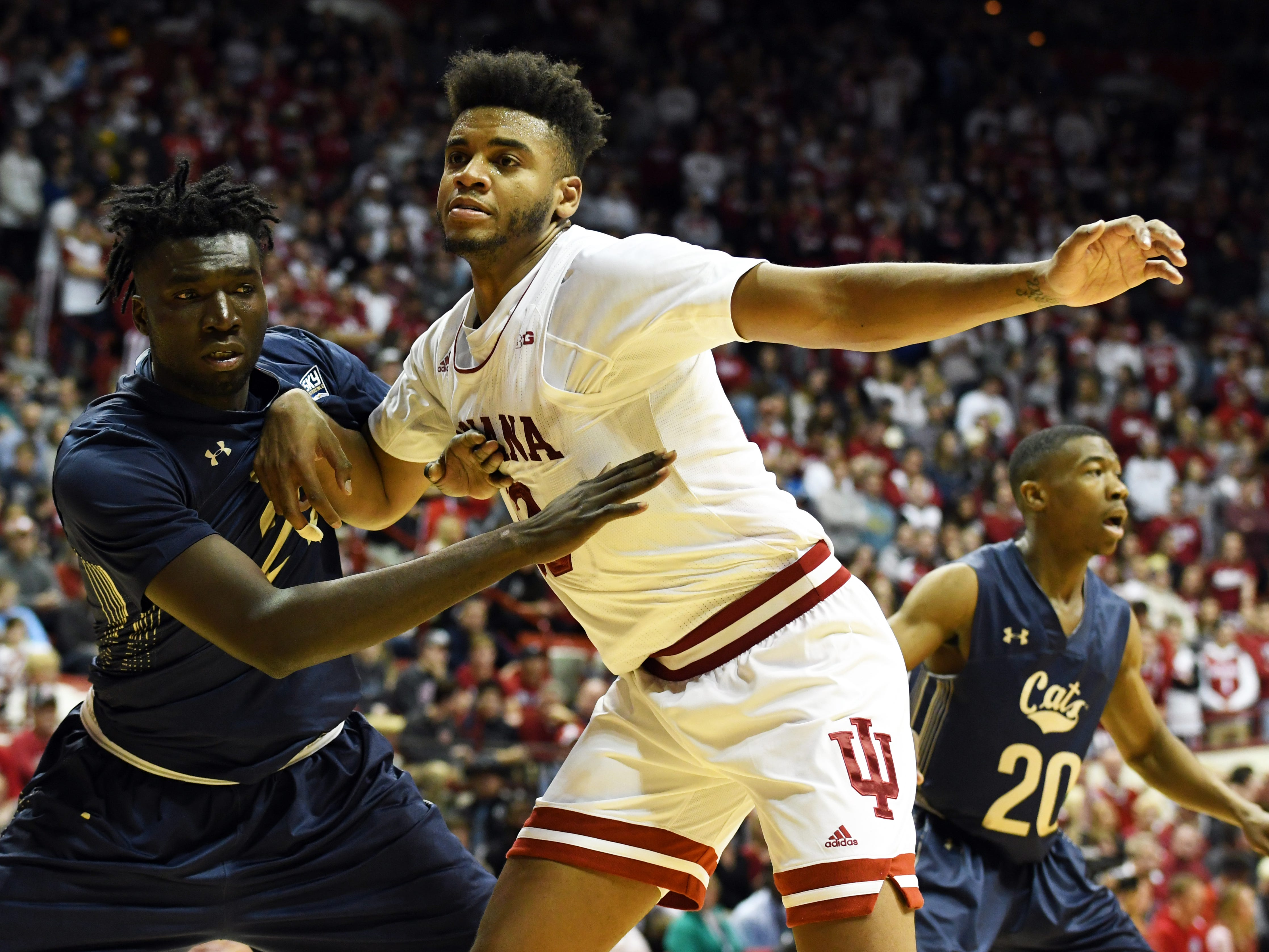 Indiana Hoosiers forward Juwan Morgan (13) looks to receive an inbound pass during the game against Montana State at Simon Skjodt Assembly Hall in Bloomington, Ind., on Friday, Nov. 9, 2018.