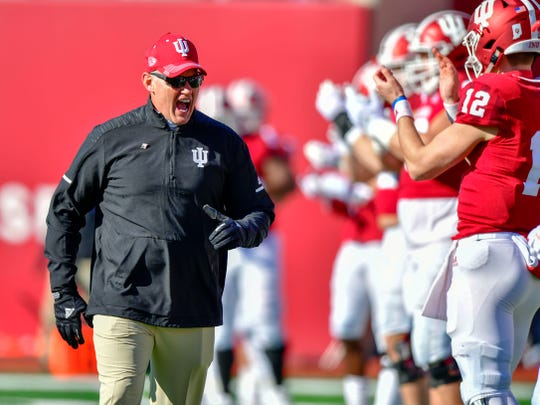 Indiana Hoosiers head coach Tom Allen yells at his team during warmups before the game against the Maryland Terrapins at Memorial Stadium.