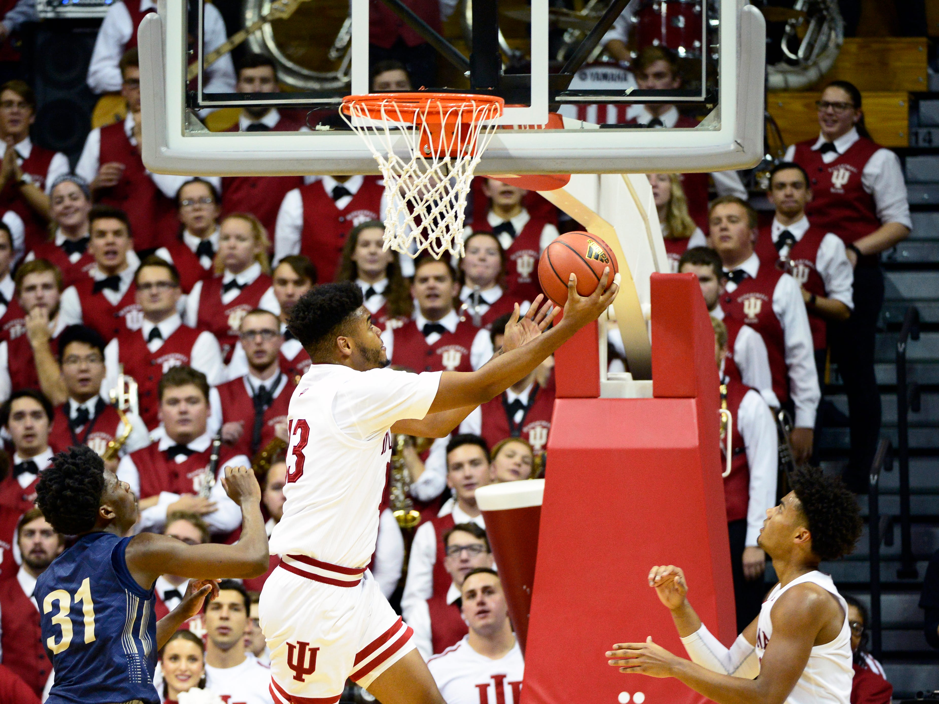 Indiana Hoosiers forward Juwan Morgan (13) goes to the basket during the game against Montana State at Simon Skjodt Assembly Hall in Bloomington, Ind., on Friday, Nov. 9, 2018.