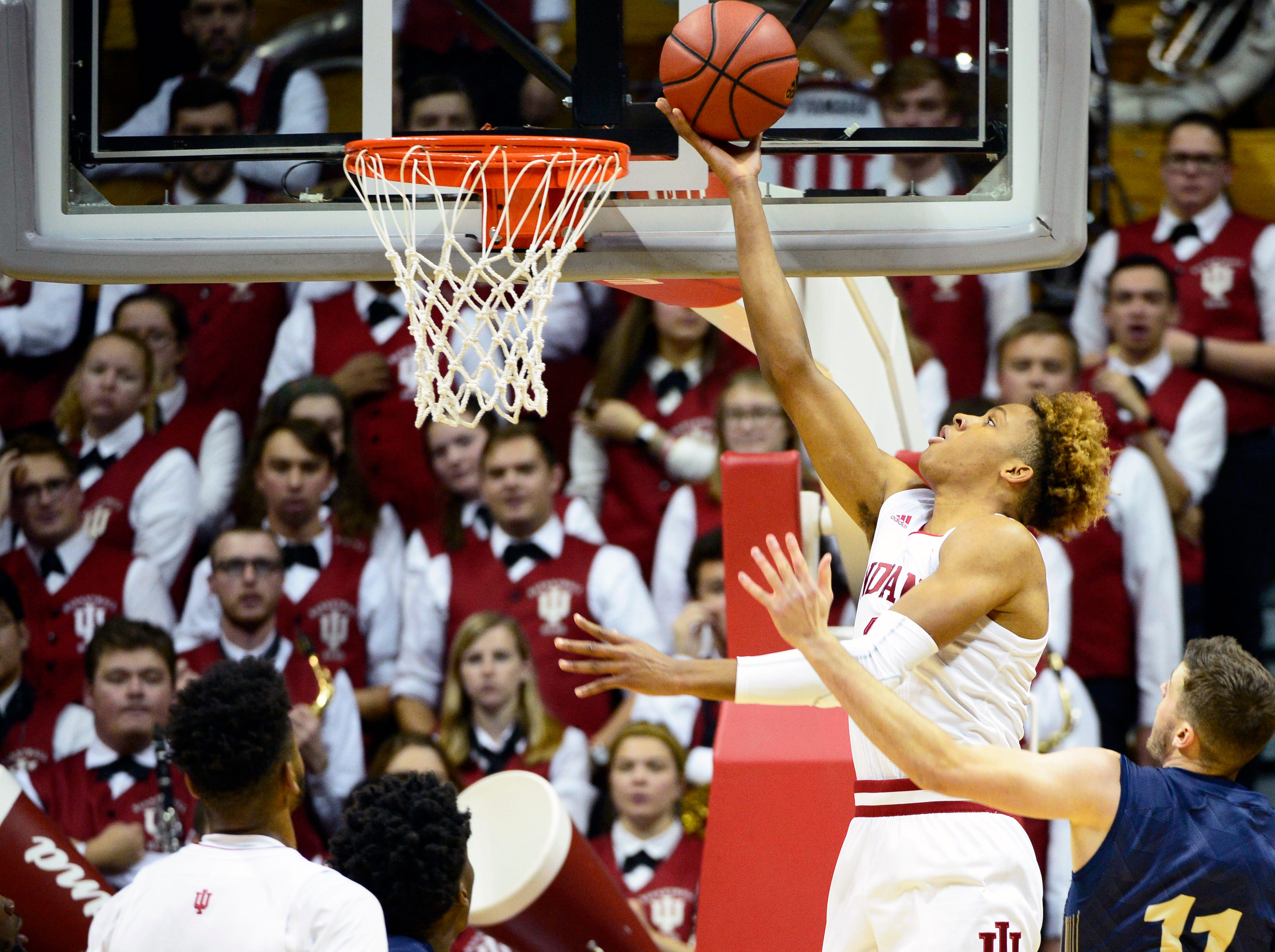Indiana Hoosiers guard Romeo Langford (0) goes to the basket during the game against Montana State at Simon Skjodt Assembly Hall in Bloomington, Ind., on Friday, Nov. 9, 2018.