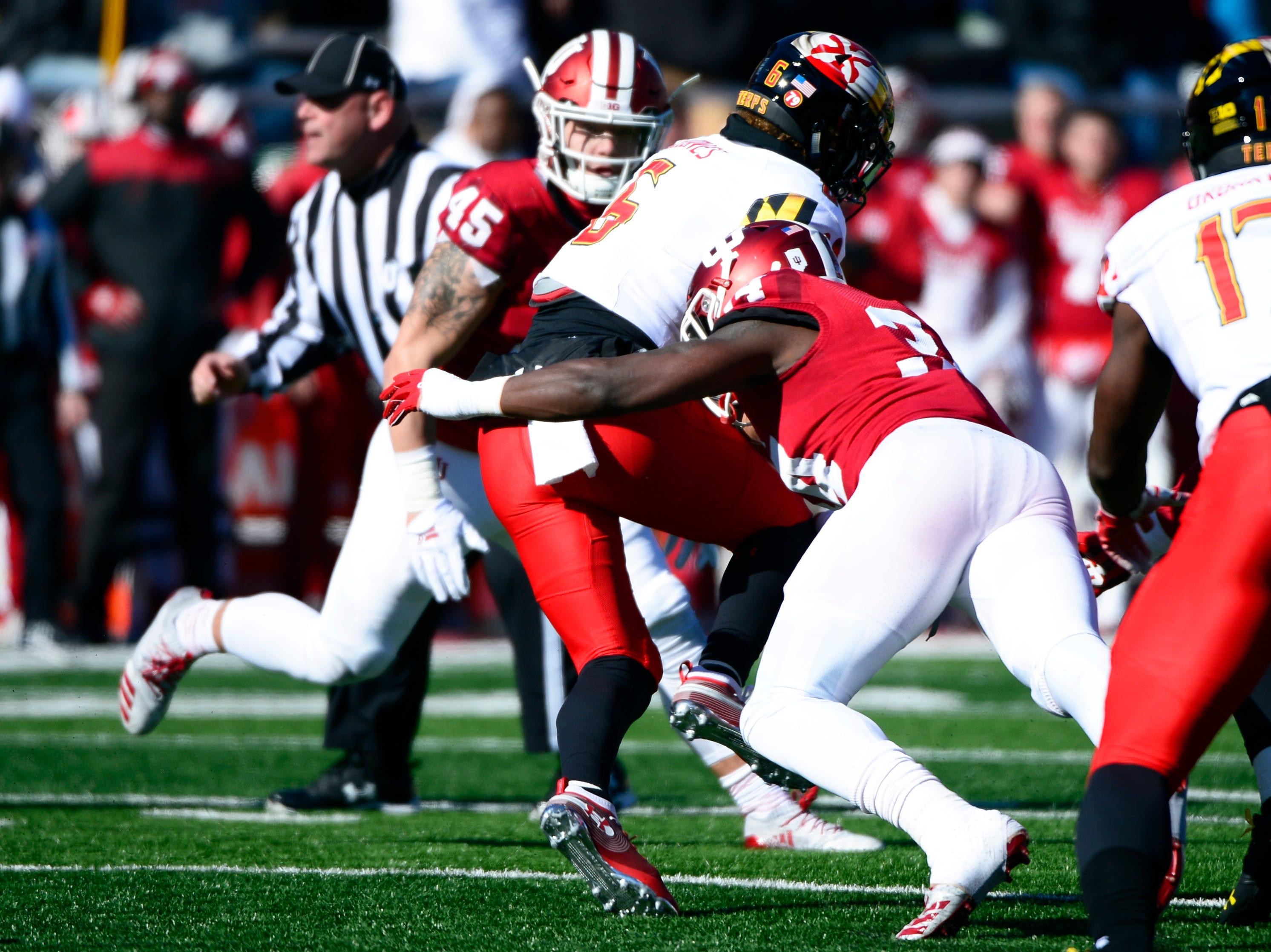 Indiana Hoosiers linebacker Cam Jones (34) tackles Maryland wide receiver Jeshaun Jones (6) during the game against Maryland at Memorial Stadium in Bloomington, Ind., on Satuday, Nov. 10, 2018.