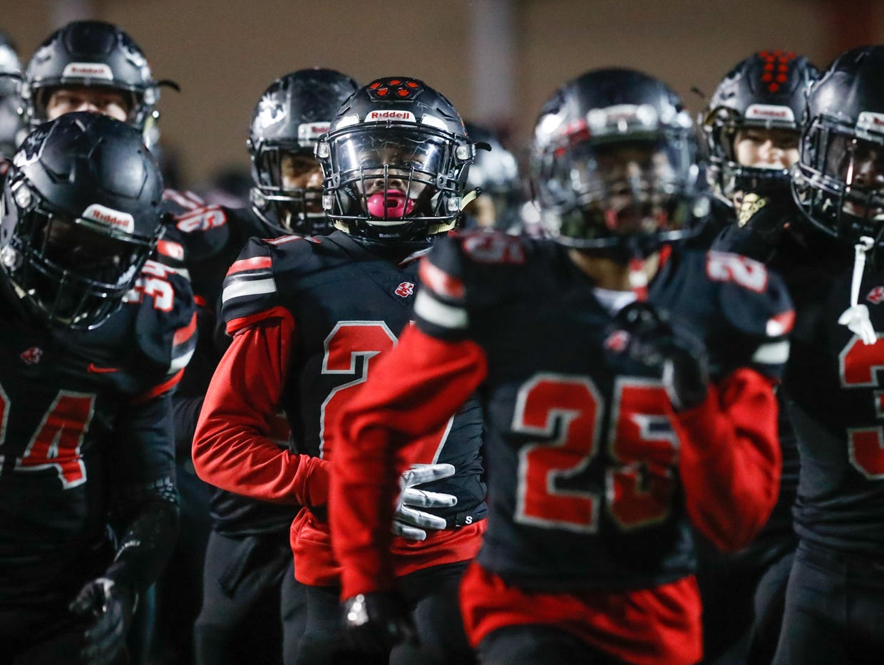 The North Central High School Panthers  varsity football team takes the field for a regional finals game against the Warren Central High School Warriors, at North Central High School on Friday, Nov. 9, 2018.