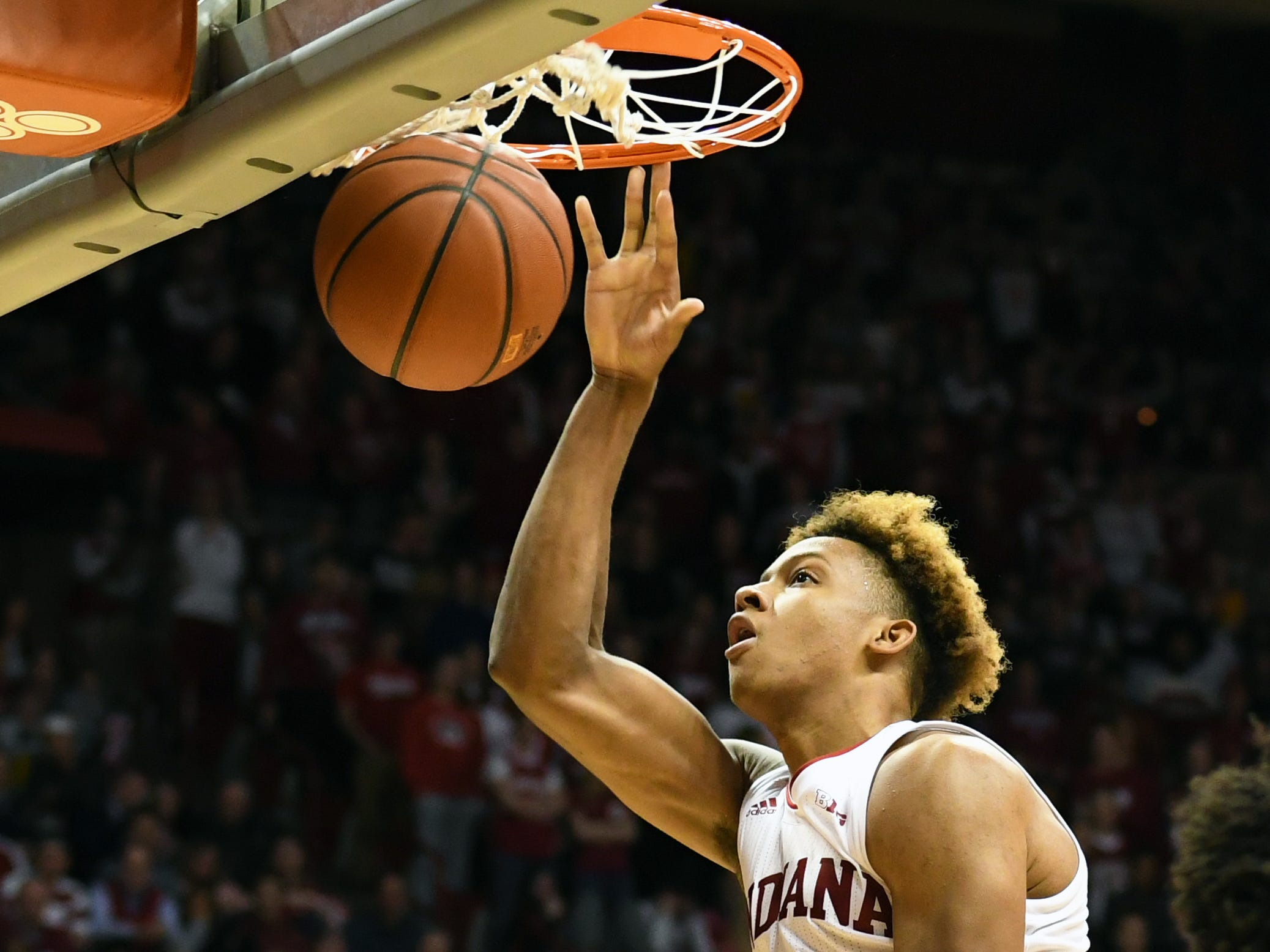 Indiana Hoosiers guard Romeo Langford (0) dunks the ball during the game against Montana State at Simon Skjodt Assembly Hall in Bloomington, Ind., on Friday, Nov. 9, 2018.