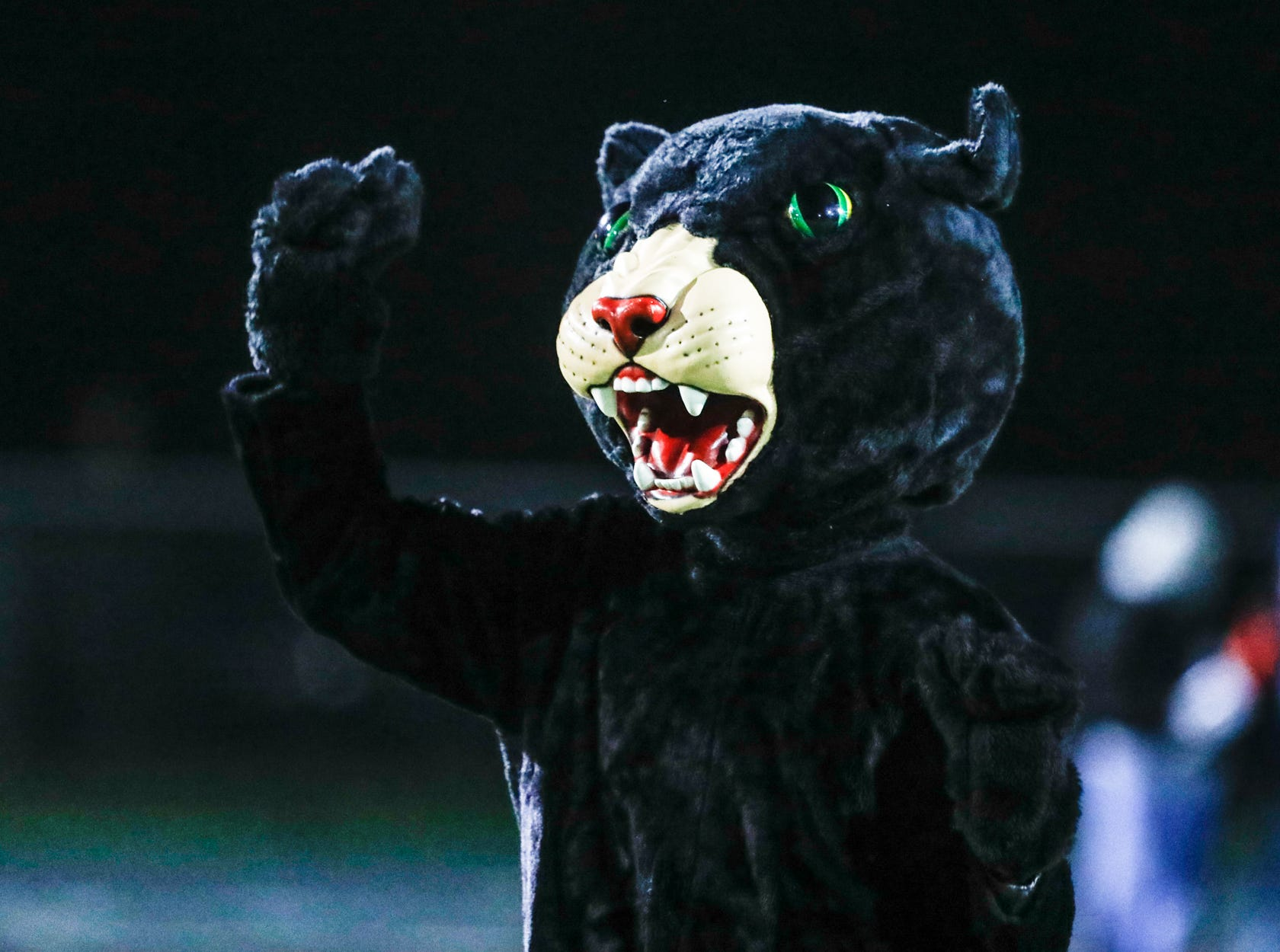 The North Central High School Panthers mascot revs up the crowd  during a regional finals game against the Warren Central High School Warriors at North Central High School on Friday, Nov. 9, 2018.