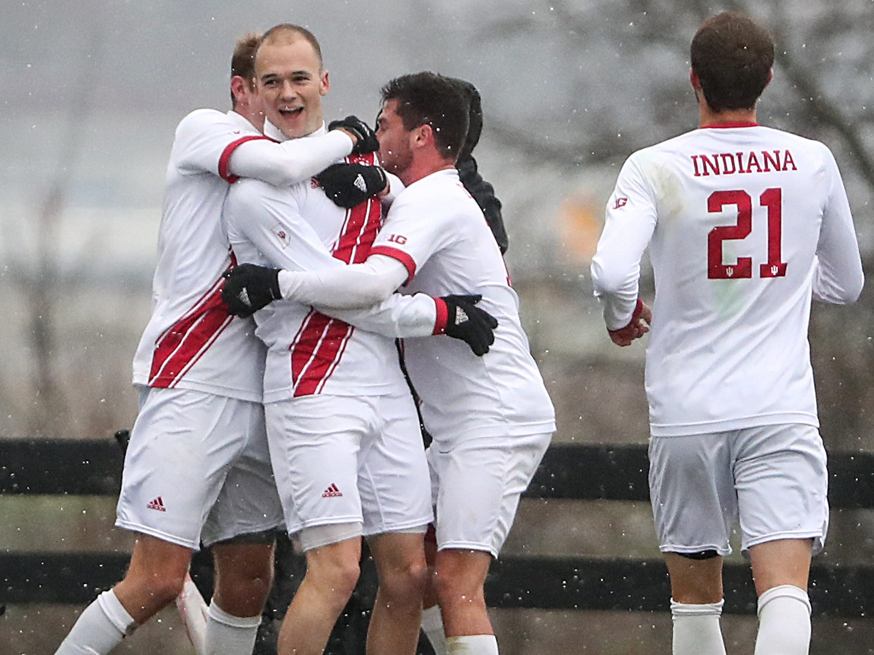 The Indiana Hoosiers celebrate a goal by Andrew Gutman (15) during the second half of Big Ten semifinals at Grand Park in Westfield, Ind., Friday, Nov. 9, 2018. Indiana and Maryland tied 1-1, with the Hoosiers advancing in penalty kicks, 4-3.