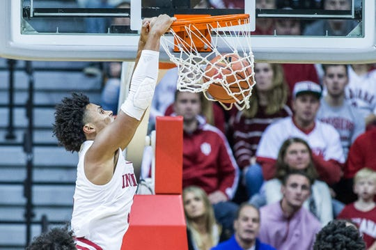 Hoosiers forward Justin Smith (3) slam dunks the ball in the second half against the Montana State Bobcats at Assembly Hall.
