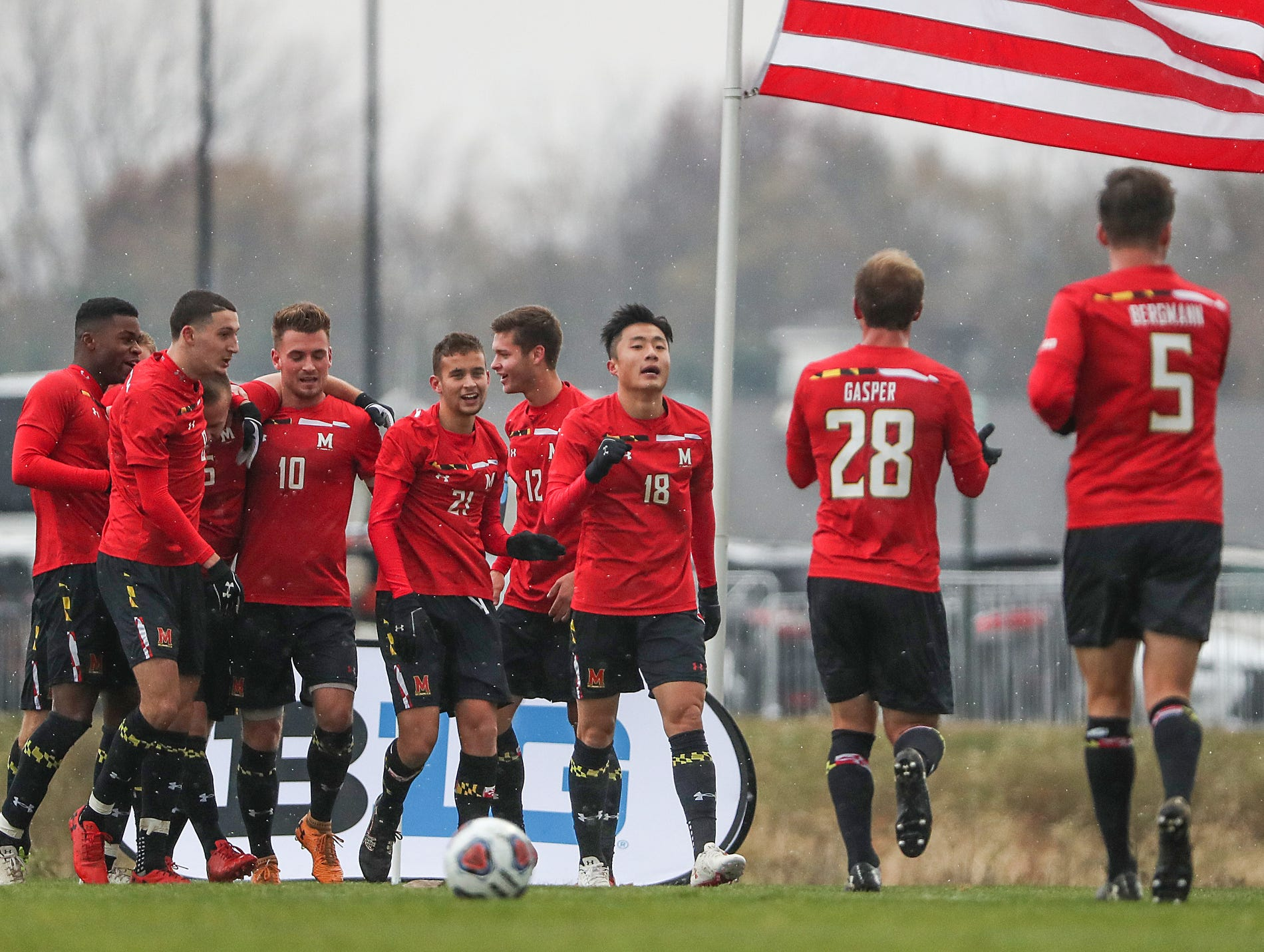 The Maryland Terrapins celebrate a goal by defender Ben Di Rosa (25) during the second half of Big Ten semifinals at Grand Park in Westfield, Ind., Friday, Nov. 9, 2018. Indiana and Maryland tied 1-1, with the Hoosiers advancing in penalty kicks, 4-3.