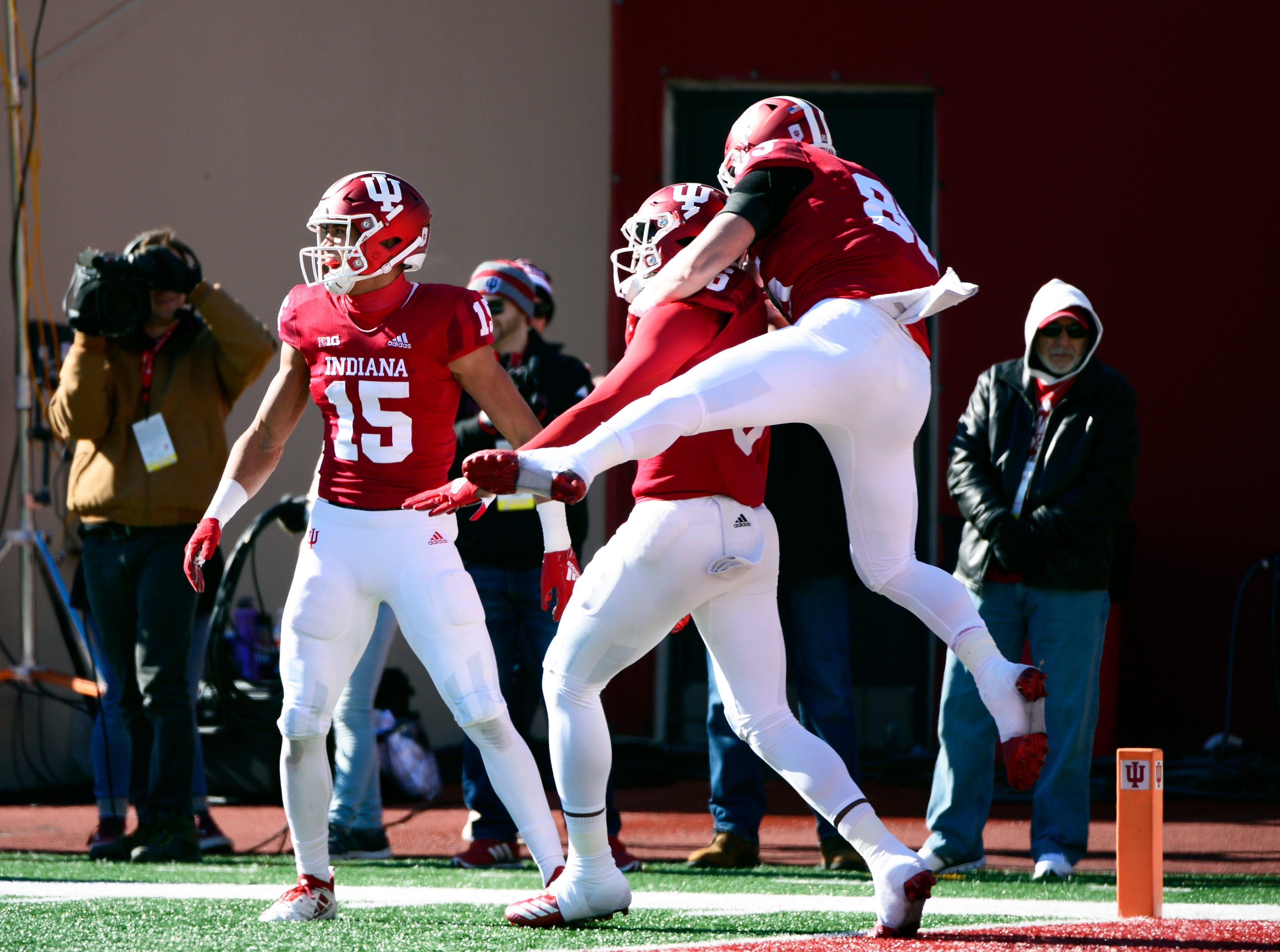 The Indiana Hoosiers celebrate after Donovan Hale (6) scores a touchdown during the game against Maryland at Memorial Stadium in Bloomington, Ind., on Satuday, Nov. 10, 2018.