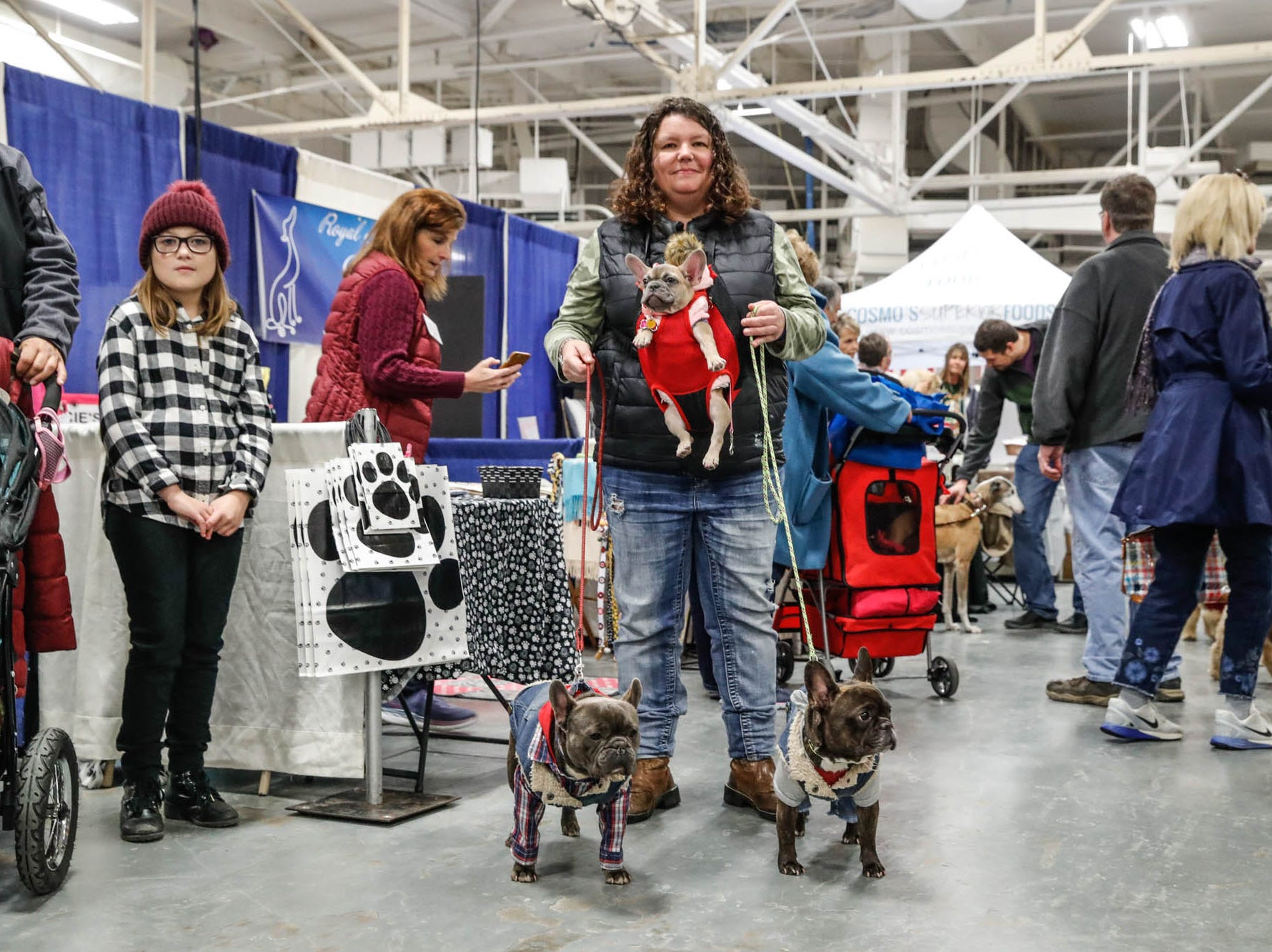 Andy Ronan brings her dogs lLilly, Milo, and Oliver to the Great Indy Pet Expo, held at the Indiana State Fairgrounds on Sat. Nov. 10, 2018.