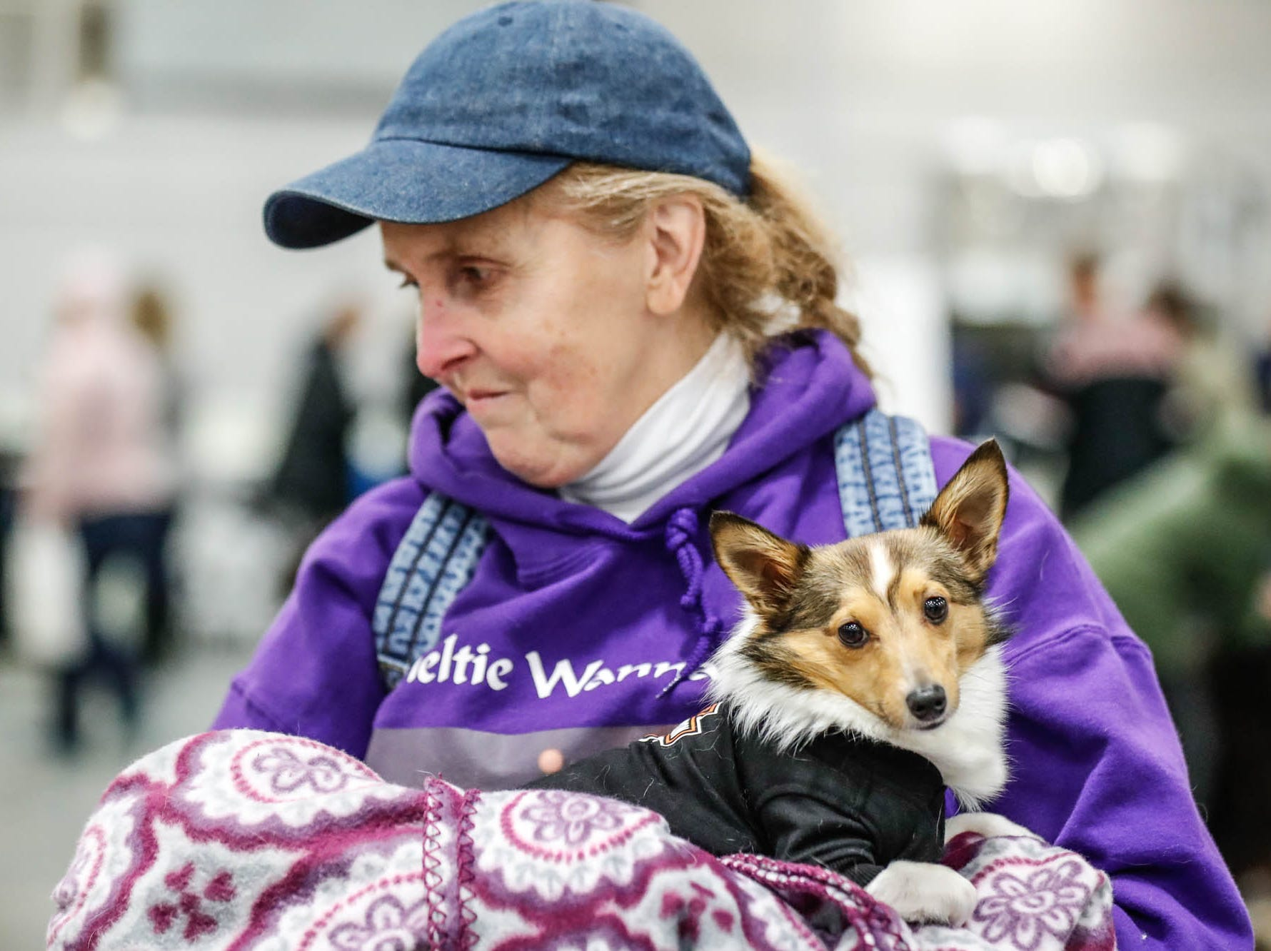 Rebecca Coleman holds her dog Patches at the Great Indy Pet Expo, held at the Indiana State Fairgrounds on Sat. Nov. 10, 2018.