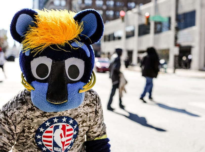 Pacers mascot Boomer jumps in front of the camera during the Veterans Day Parade.