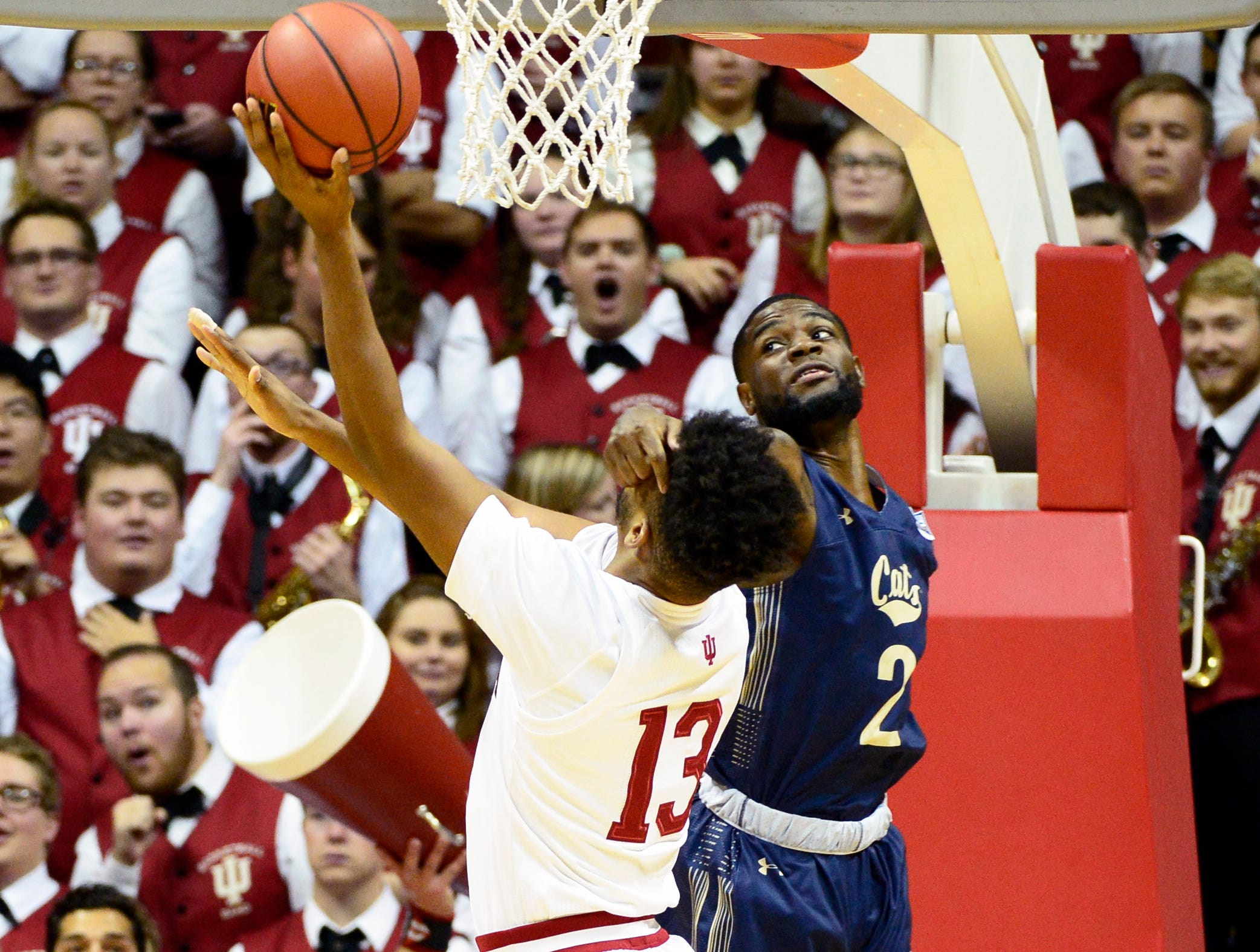 Indiana Hoosiers forward Juwan Morgan (13) is hit in the face as he goes to the basket during the game against Montana State at Simon Skjodt Assembly Hall in Bloomington, Ind., on Friday, Nov. 9, 2018.