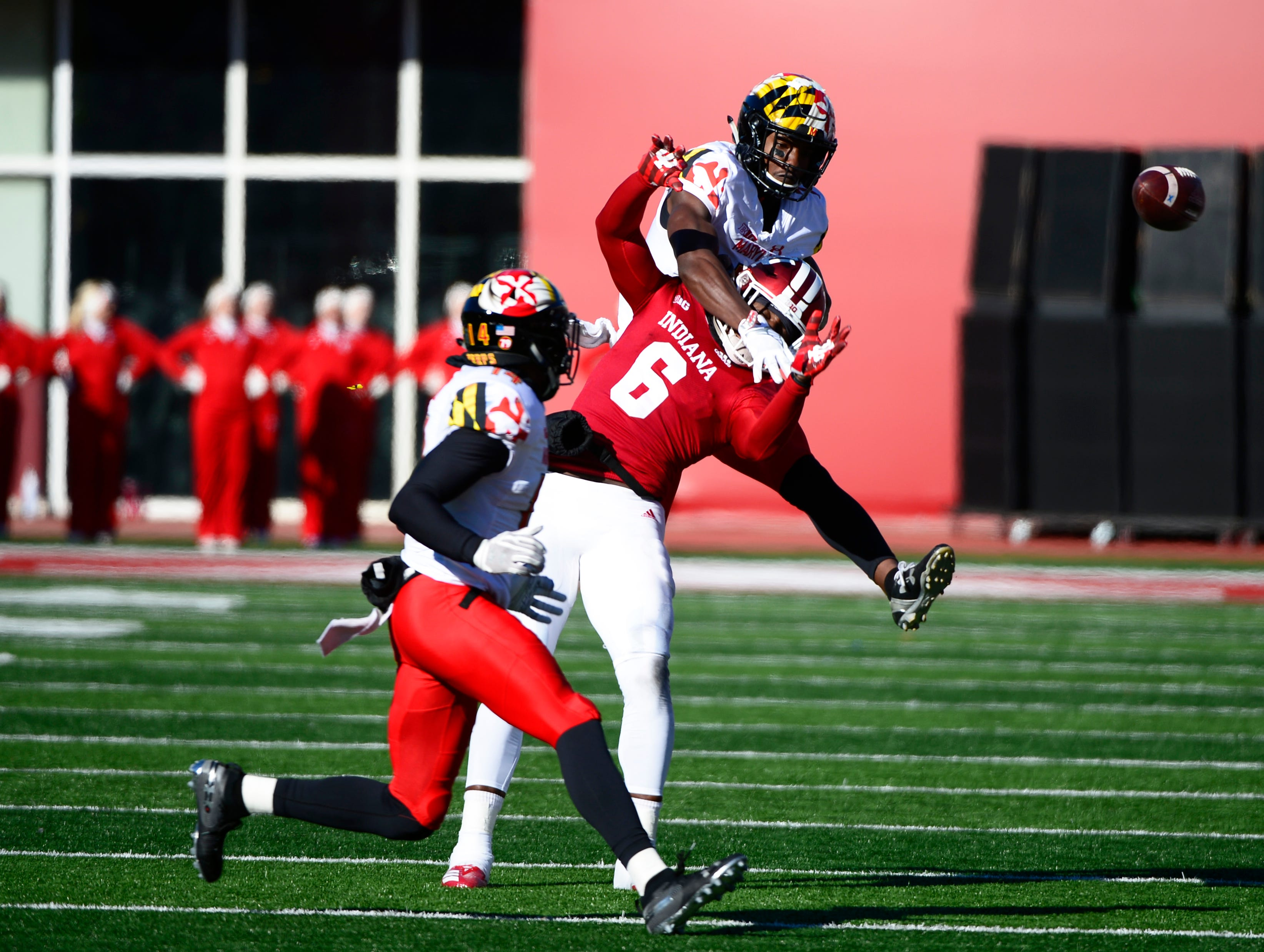 Indiana Hoosiers wide receiver Donovan Hale (6) goes up to catch a pass during the game against Maryland at Memorial Stadium in Bloomington, Ind., on Satuday, Nov. 10, 2018.