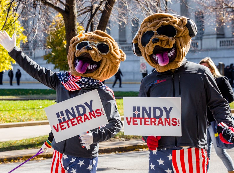 People participate in the Veterans Day Parade.