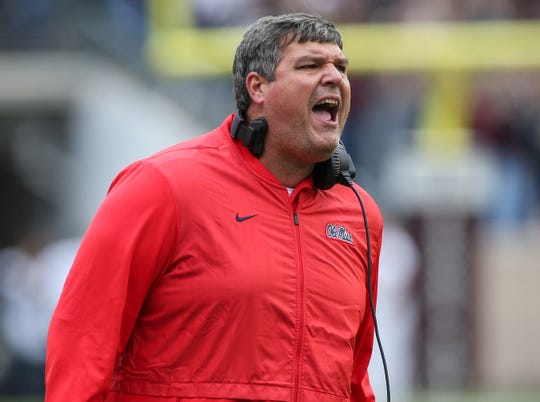 Ole Miss coach Matt Luke shouts during a 2018 game vs. Texas A&M.