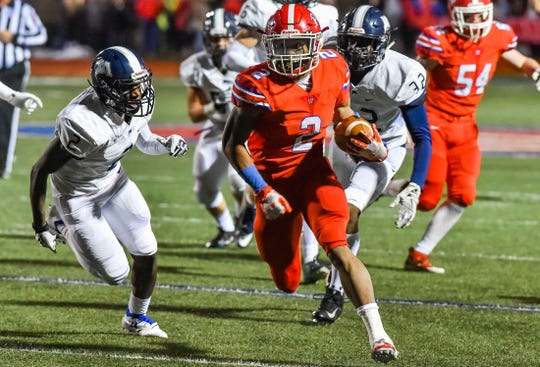 Jackson Prep's Jerrion Ealy (2) runs the ball for a first quarter touchdown against Jackson Academy during MAIS AAAA Semi Final Playoff game action held Saturday November 9th, 2018 in Flowood, Mississippi.(Photo/Bob Smith-For the Clarion Ledger)