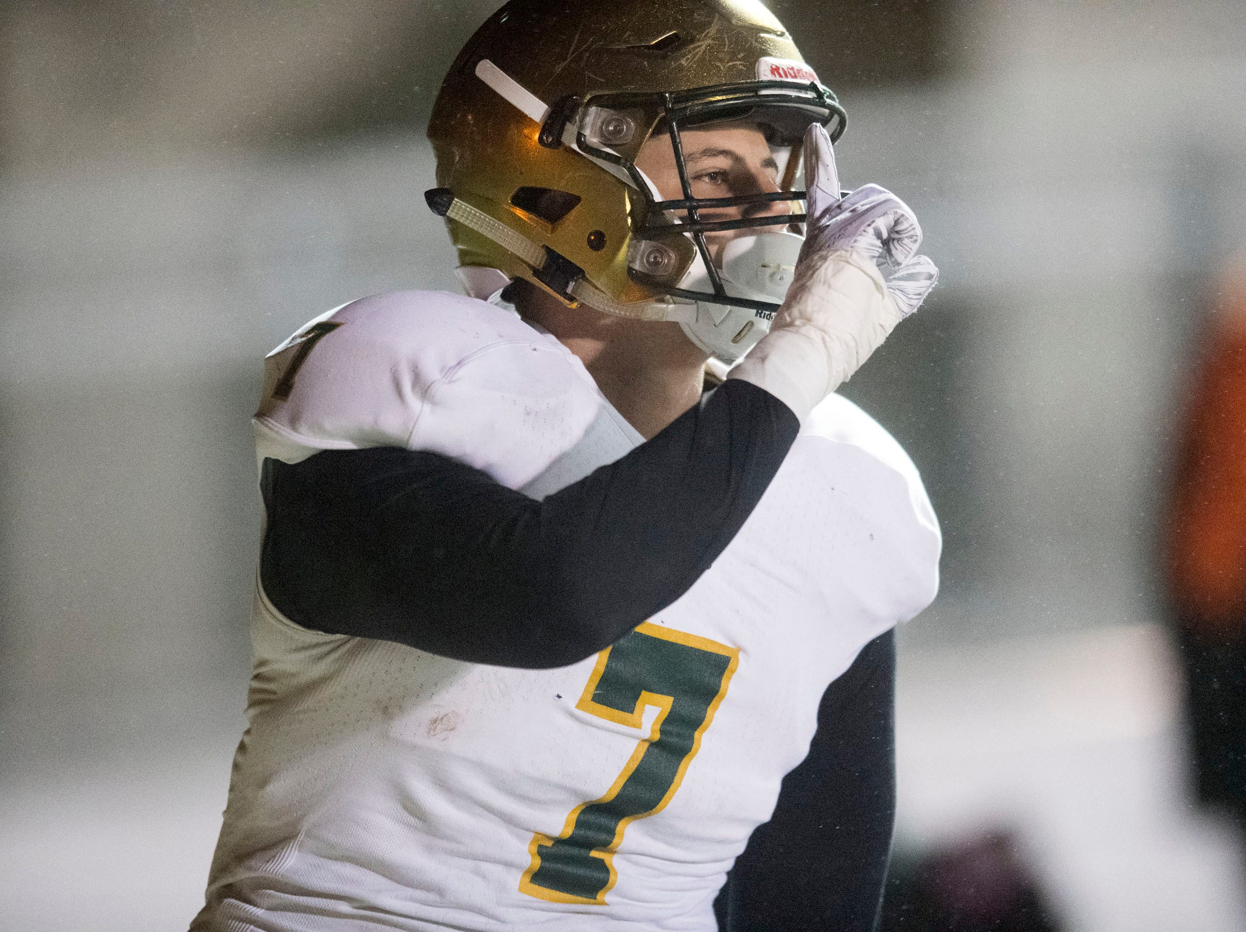 Knoxville Catholic's Stiles Moore (7) celebrates after scoring a touchdown against Fulton. Knoxville Catholic beat Fulton, 28-25 in the second round of the Class 5A playoffs on Friday, November 9, 2018.