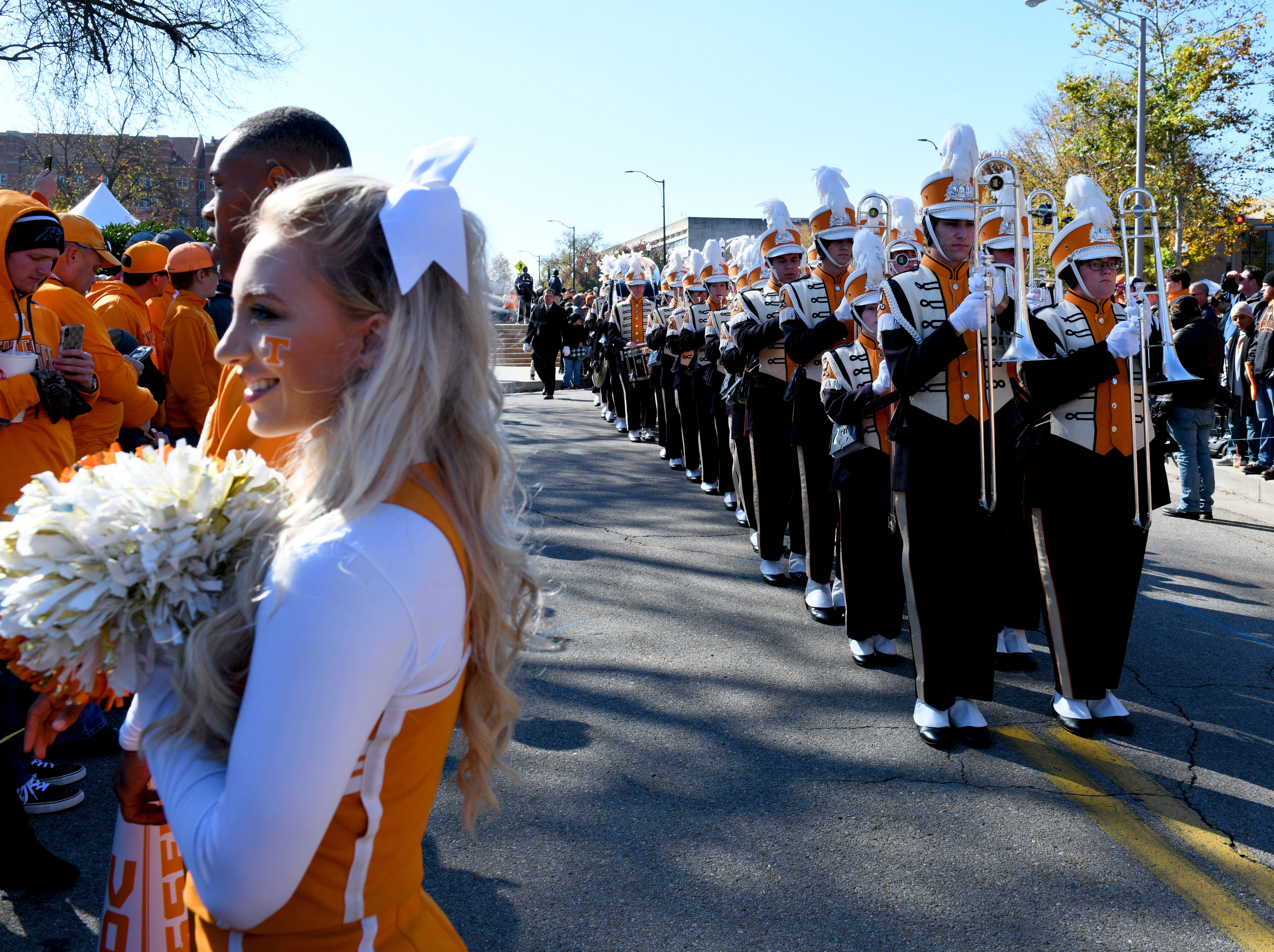 Tennessee perp band arriving for the Vol Walk before the Kentucky game Saturday, November 10, 2018 at Neyland Stadium in Knoxville, Tenn.