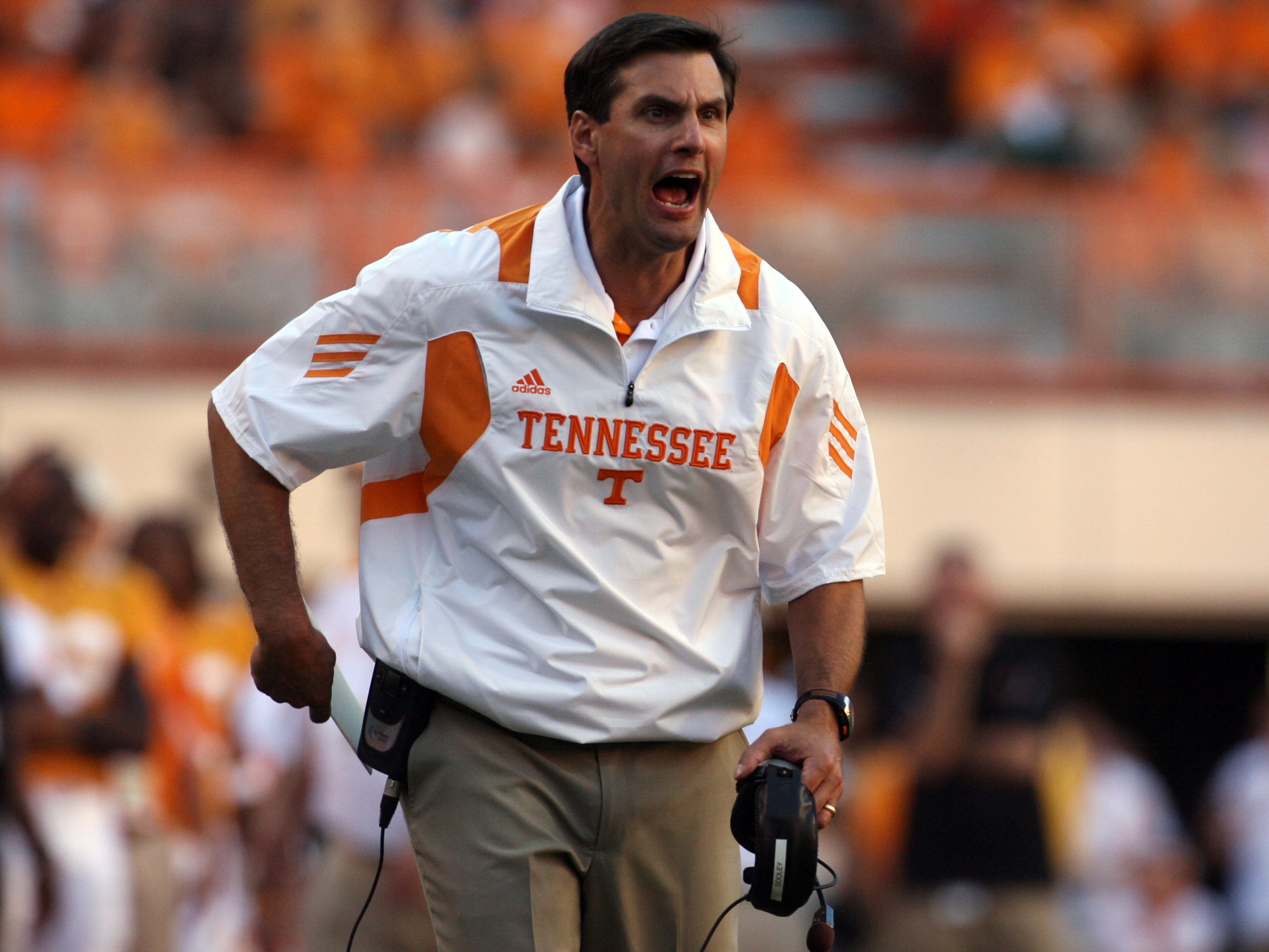 Tennessee head coach Derek Dooley calls to his players during the game against UT Martin at Neyland Stadium Saturday, Sept. 4, 2010.
