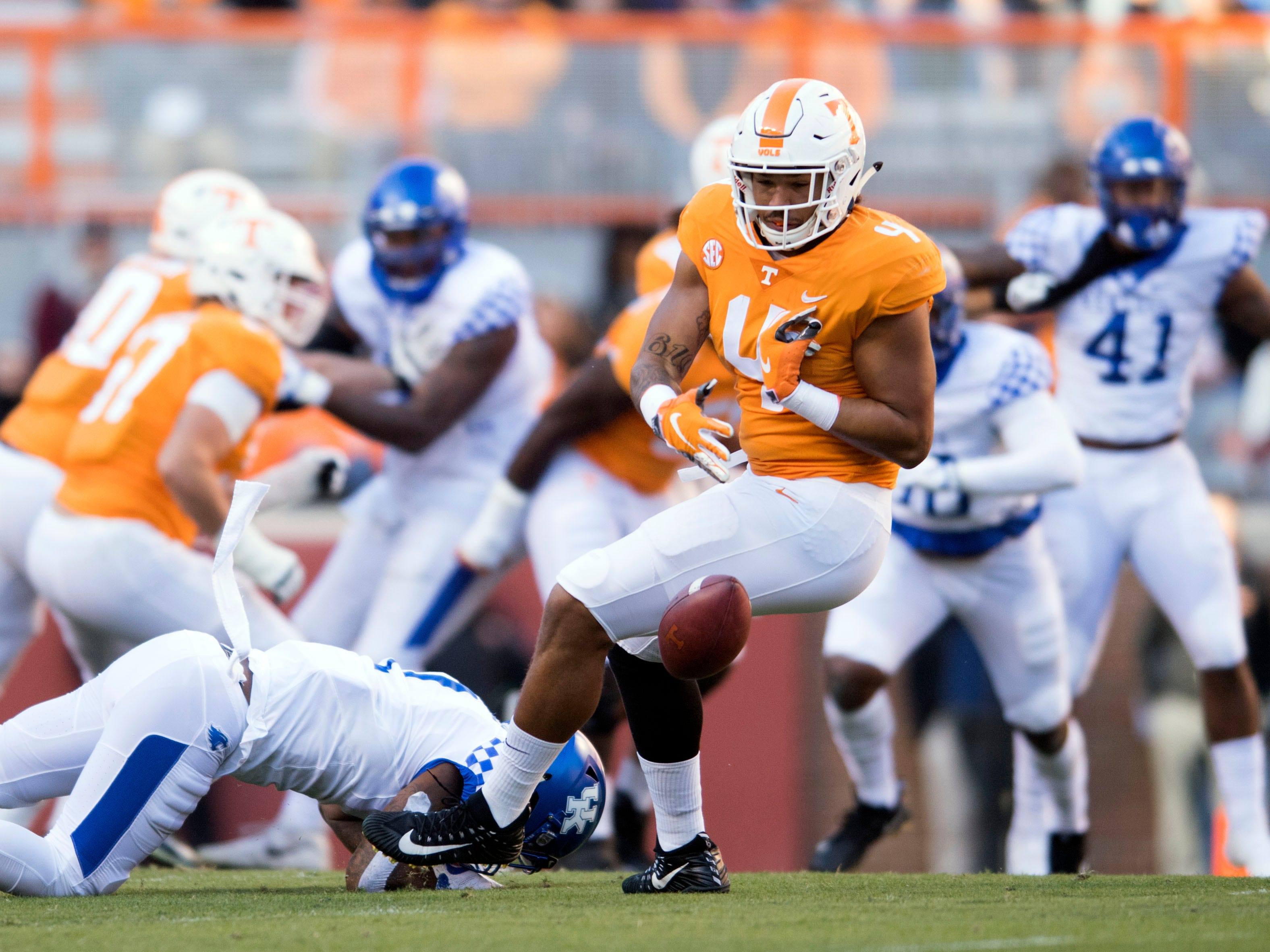 A pass to Tennessee tight end Dominick Wood-Anderson (4) falls incomplete during a game between Tennessee and Kentucky at Neyland Stadium in Knoxville, Tennessee on Saturday, November 10, 2018.