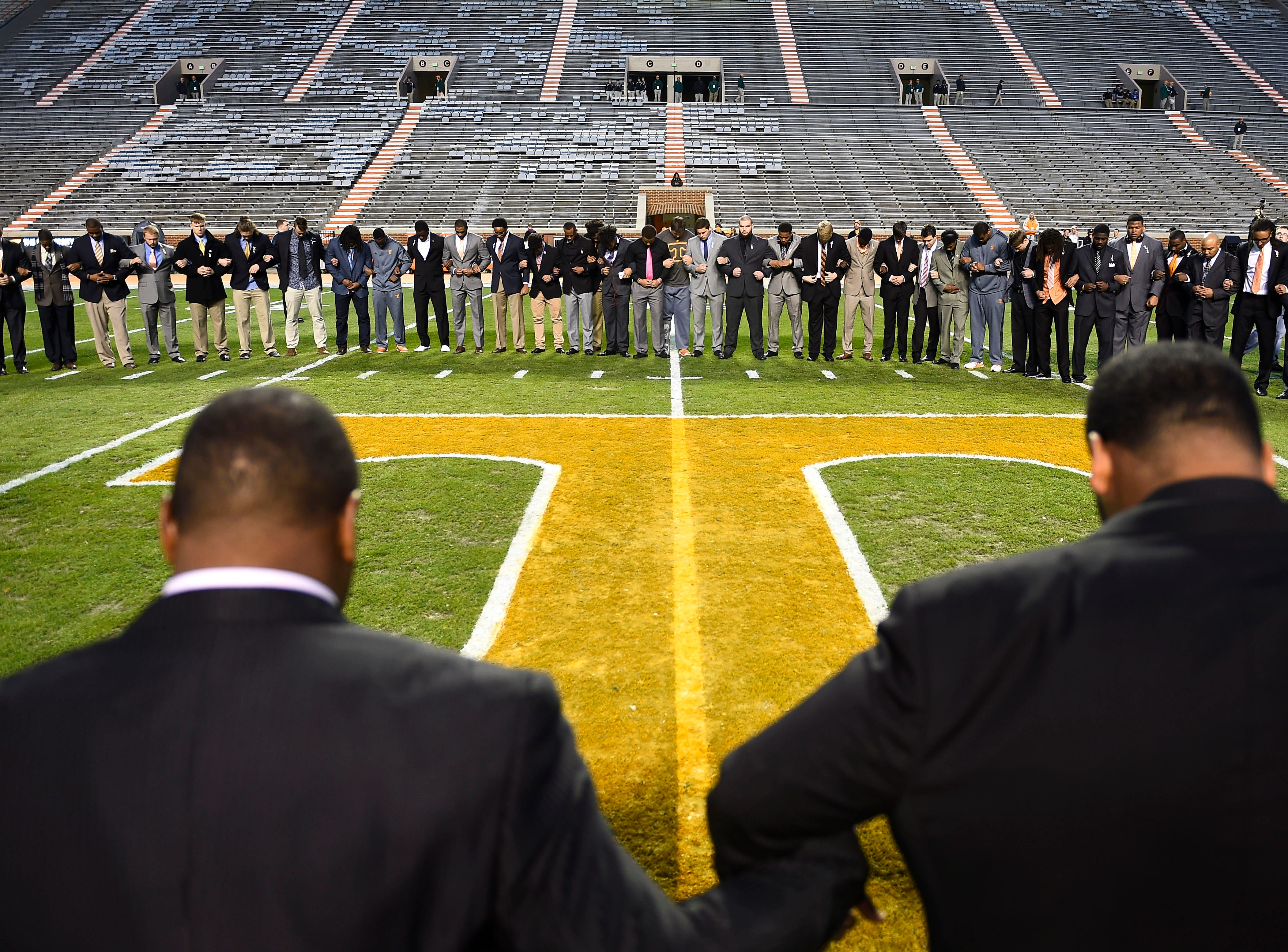 The Tennessee football team gathers for a prayer before the game against the Missouri Tigers Saturday, Nov. 22, 2014 in Knoxville, TN.