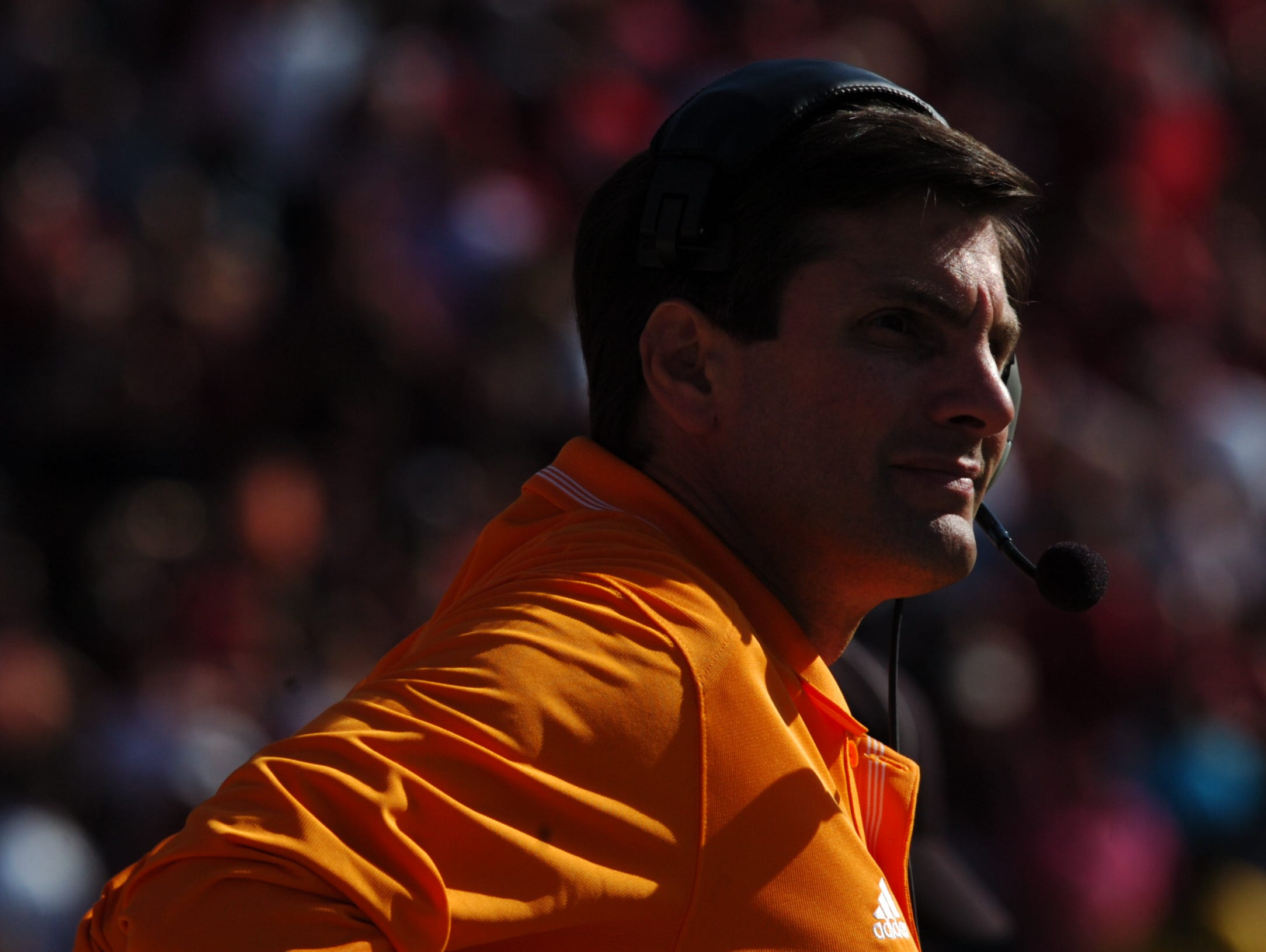 Tennessee head coach Derek Dooley late in the fourth quarter against South Carolina at Williams-Brice Stadium in Columbia, SC on Saturday, Oct. 30, 2010. UT lost the game 38-24, giving them a 2-6 record.