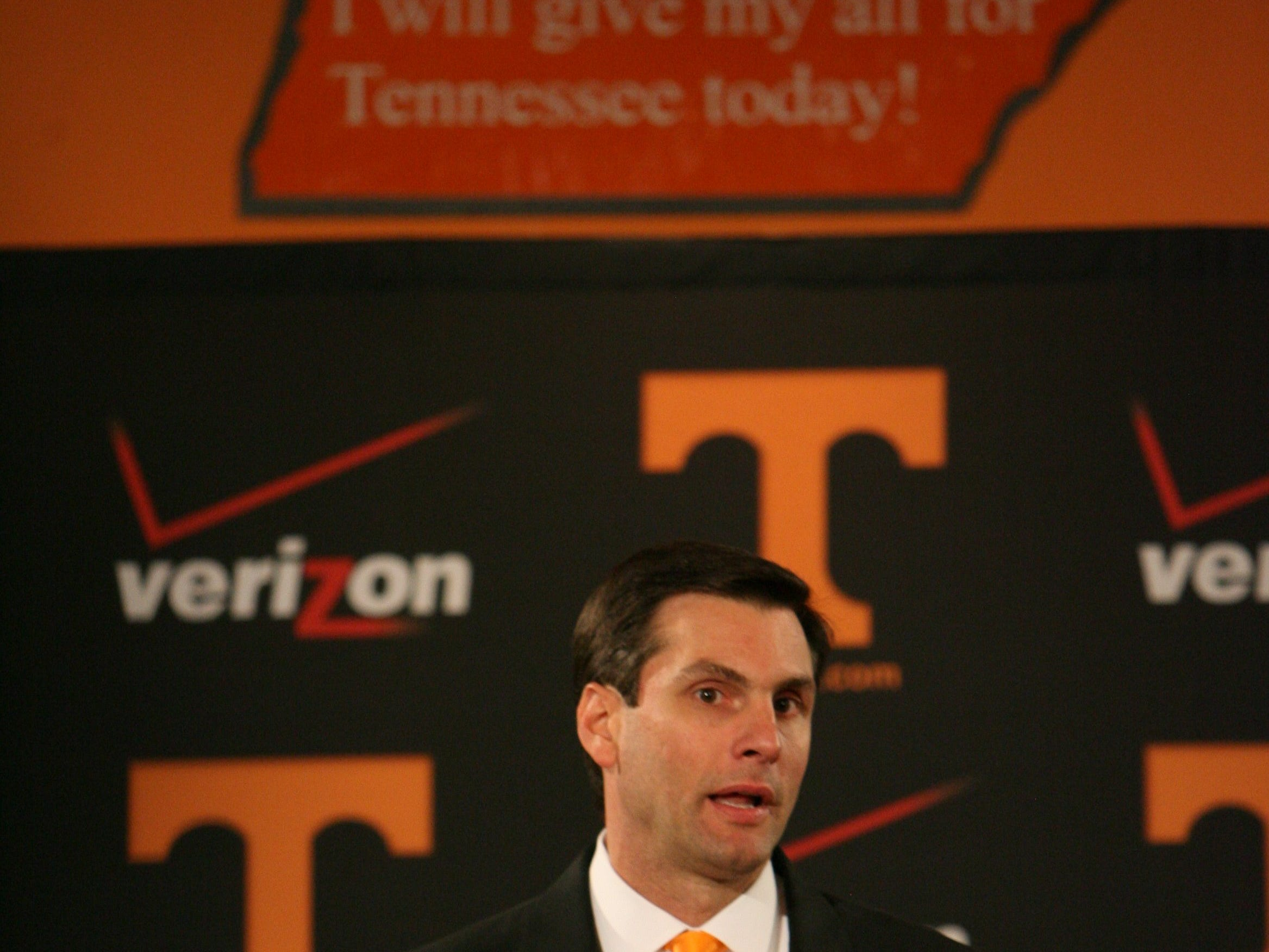 Tennessee head coach Derek Dooley speaks during a press conference in the Peyton Manning Locker Room Complex at Neyland Stadium Friday, Jan. 15, 2010.