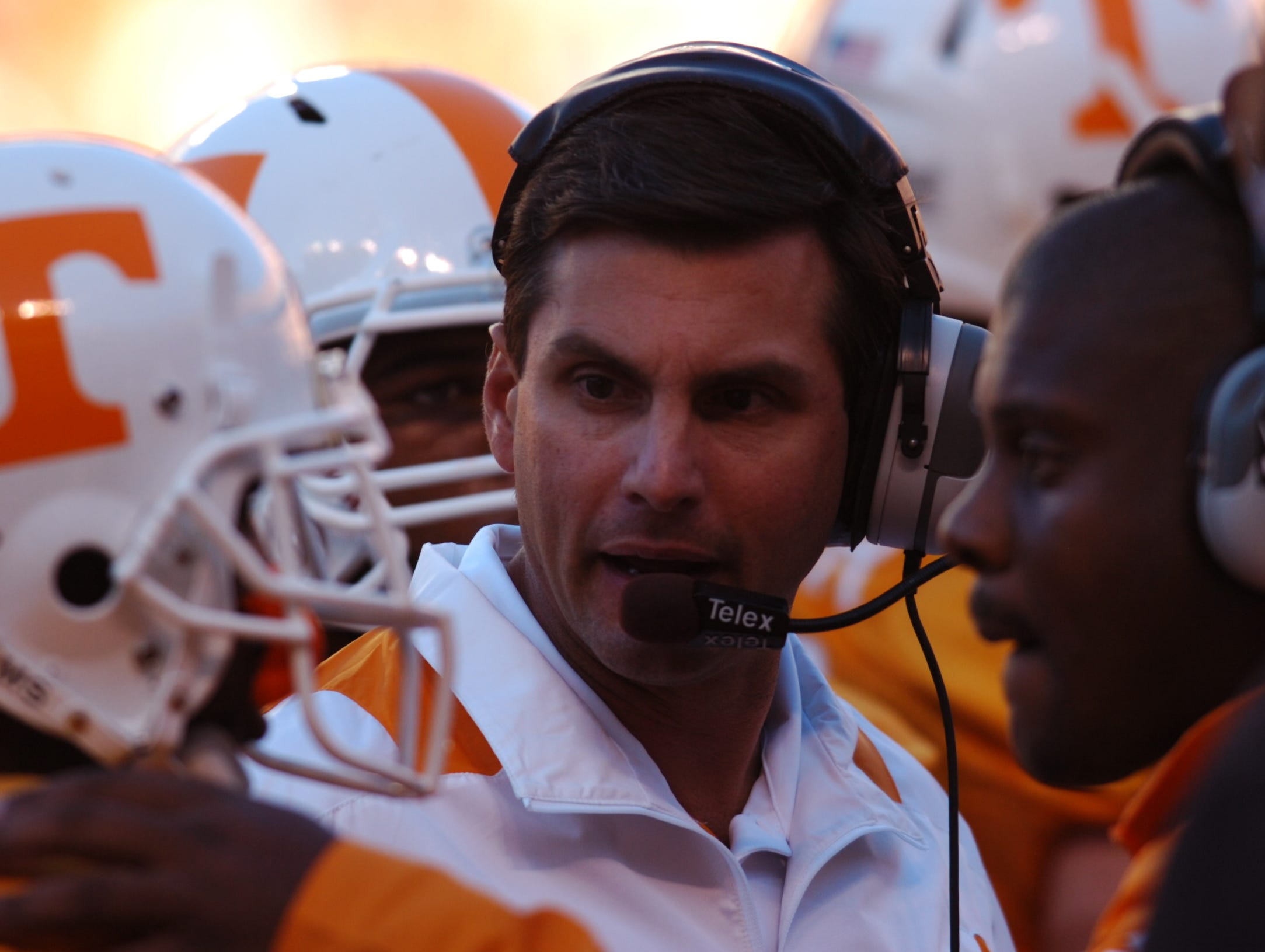 Tennessee head coach Derek Dooley addresses players as they prepare to take the field against UT Martin at Neyland Stadium on Saturday, Sept. 4, 2010. The Vols' season opener was a 50 - 0 victory in Derek Dooley's debut as head coach.