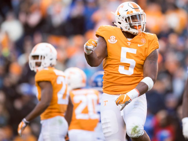 Tennessee defensive lineman Kyle Phillips (5) celebrates after making a tackle during a game between Tennessee and Kentucky at Neyland Stadium in Knoxville, Tennessee on Saturday, November 10, 2018.