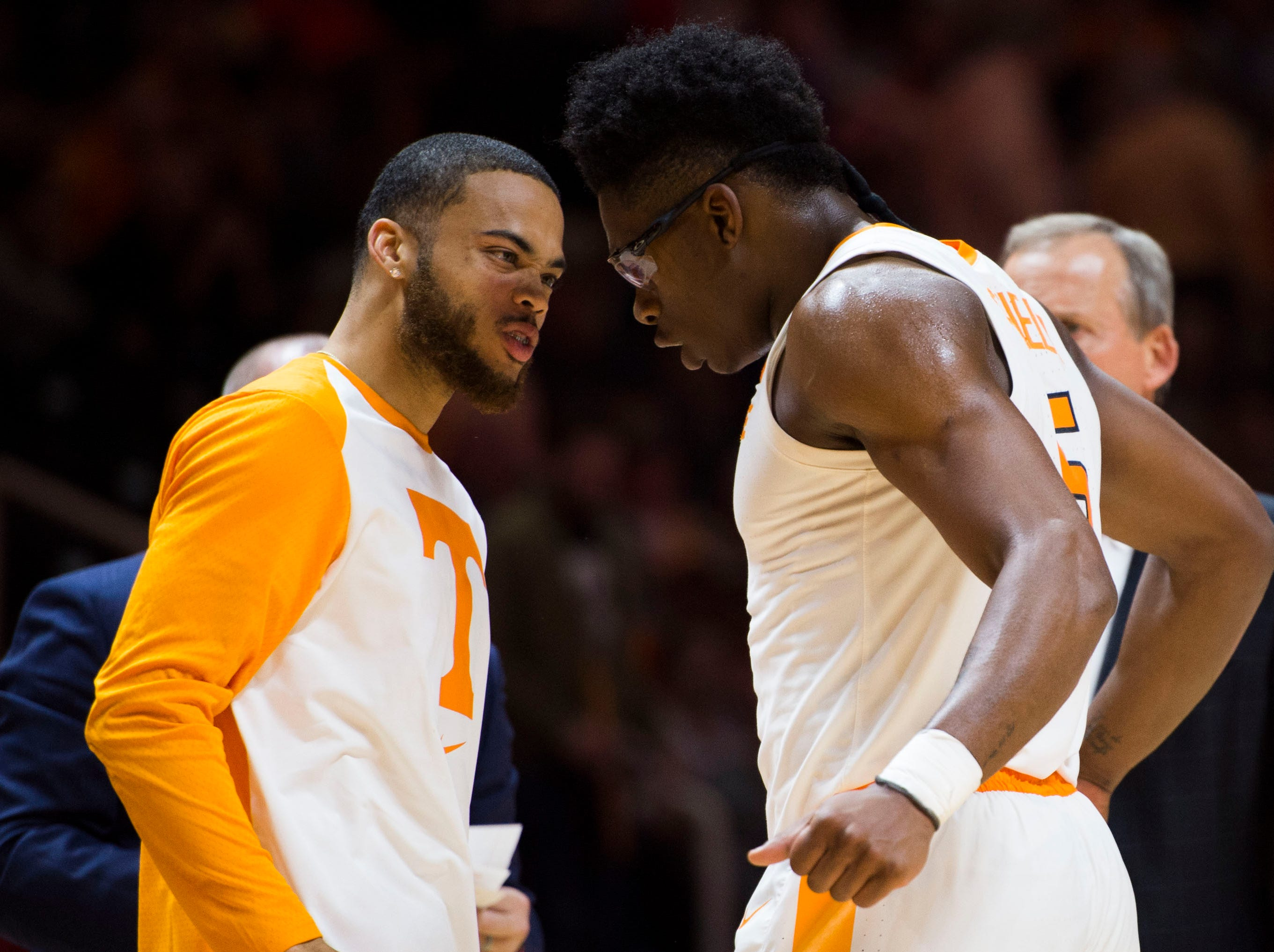 Tennessee's Lamonte Turner (1) celebrates with TennesseeÕs Admiral Schofield (5) during a game between Tennessee and Louisiana in Thompson-Boling Arena Friday, Nov. 9, 2018. Tennessee defeated Louisiana 87-65.