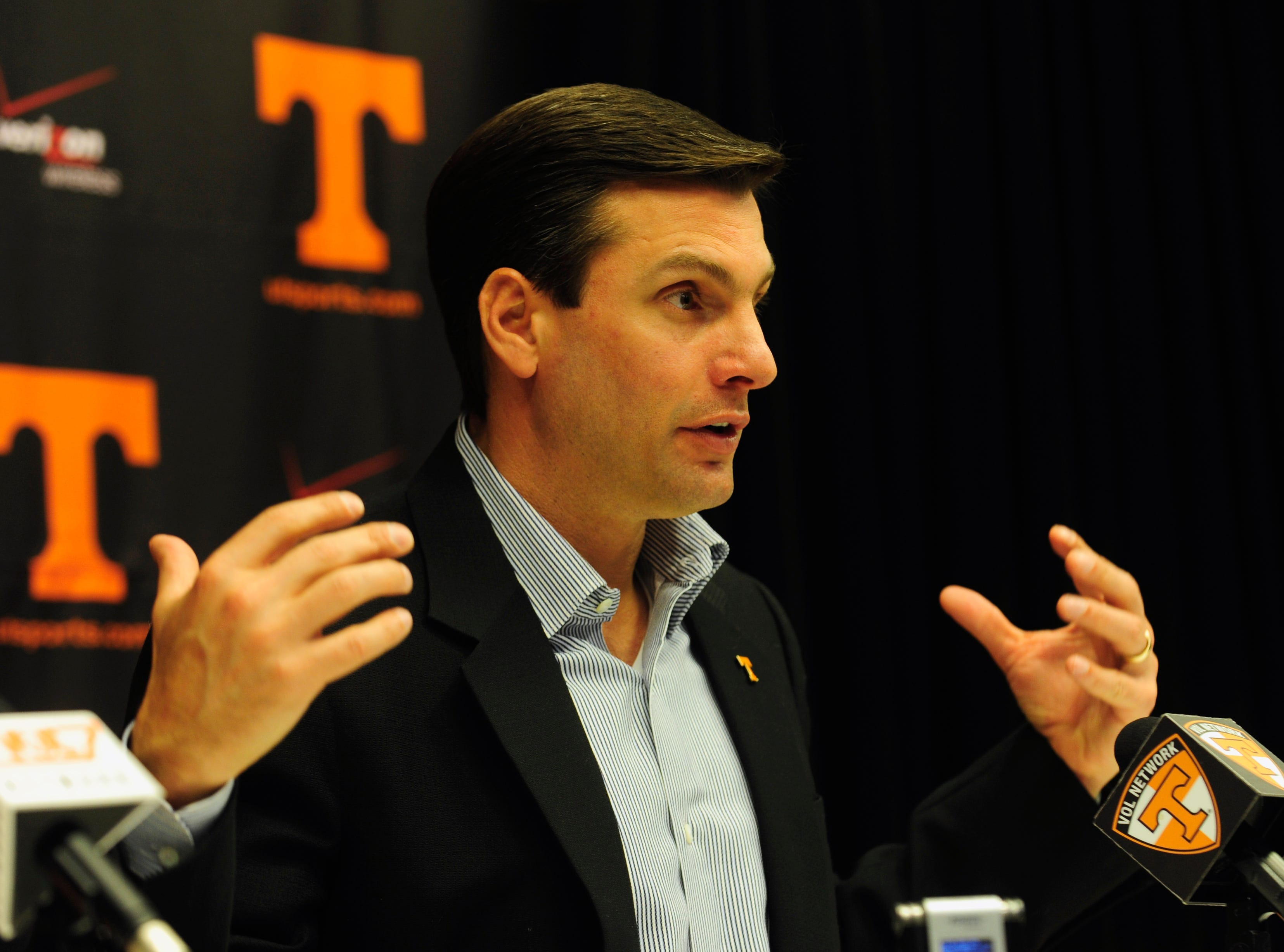 Tennessee head coach Derek Dooley during a press conference Wednesday, Mar. 17, 2010 .