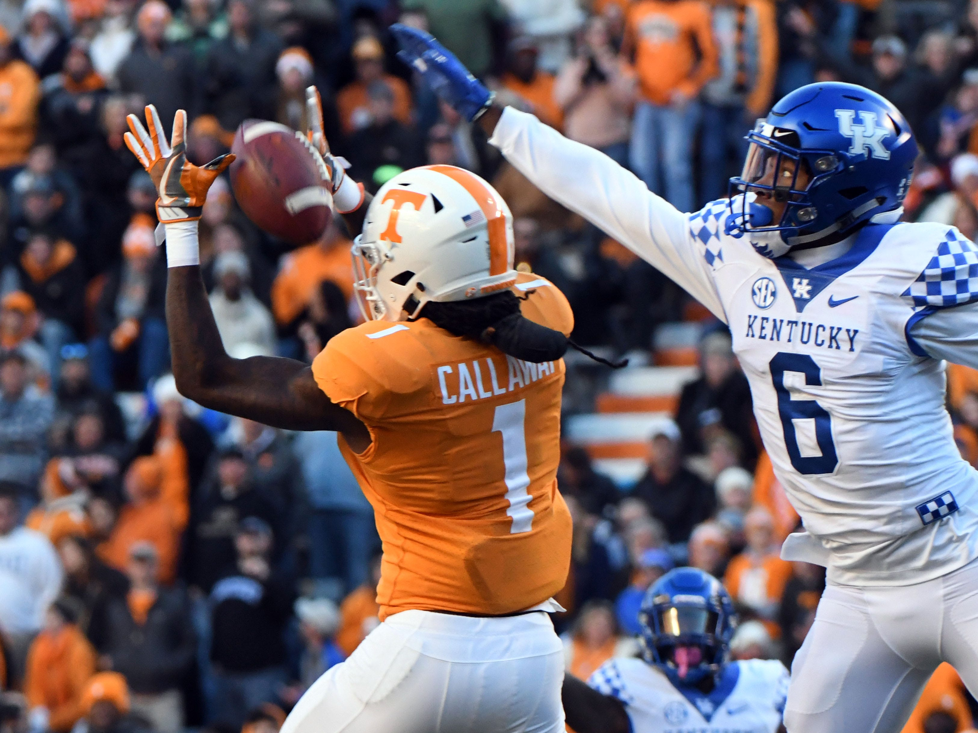 An incomplete pass intended for Tennessee wide receiver Marquez Callaway (1) while defended by Kentucky cornerback Lonnie Johnson Jr. (6) during first half action in the Kentucky game Saturday, November 10, 2018 at Neyland Stadium in Knoxville, Tenn.