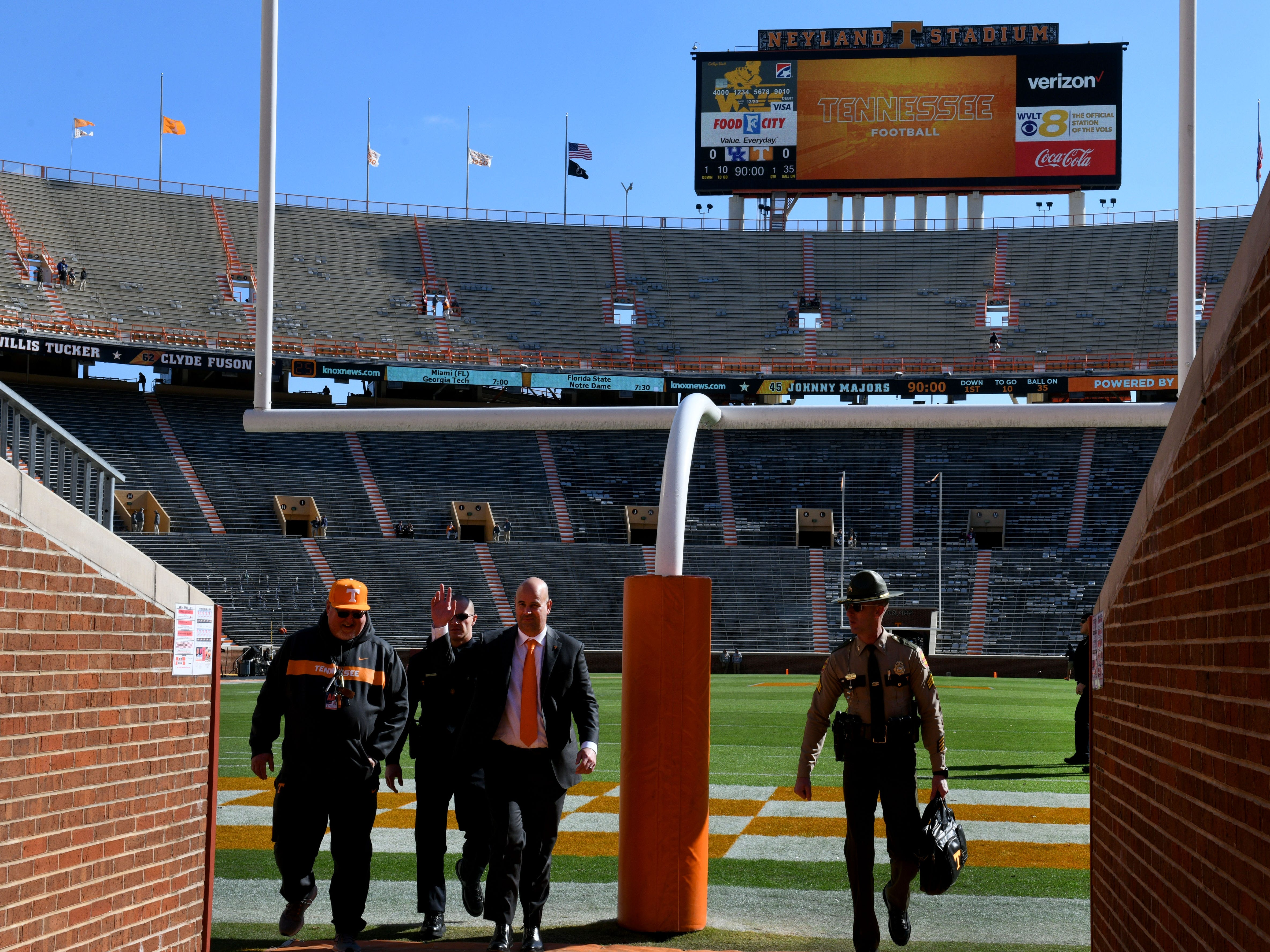 Tennessee Head Coach Jeremy Pruitt finishes walking there field following the Vol Walk before the Kentucky game Saturday, November 10, 2018 at Neyland Stadium in Knoxville, Tenn.