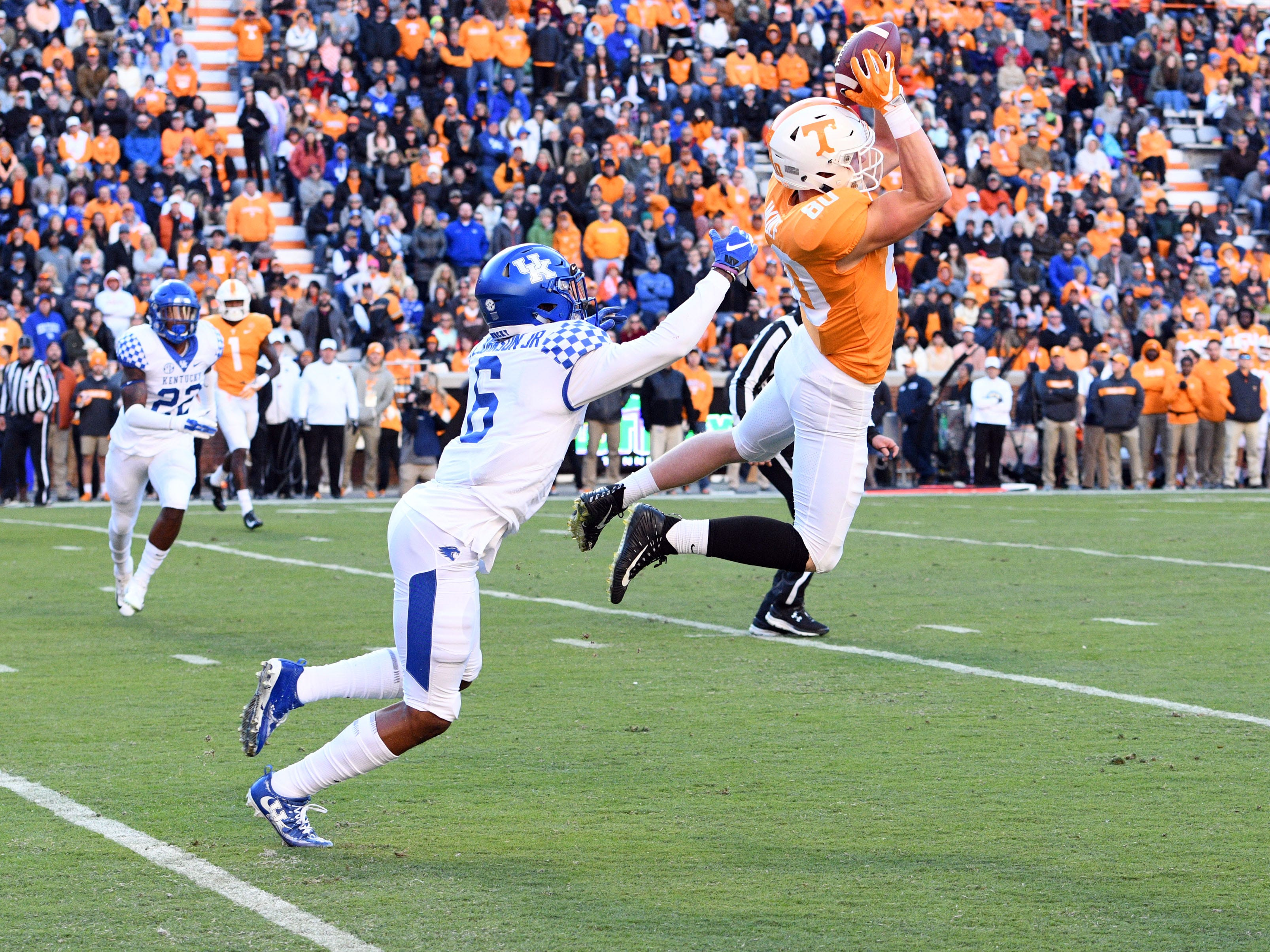 Tennessee tight end Eli Wolf (80) makes the catch near the end zone during a game between Tennessee and Kentucky at Neyland Stadium in Knoxville, Tennessee on Saturday, November 10, 2018.