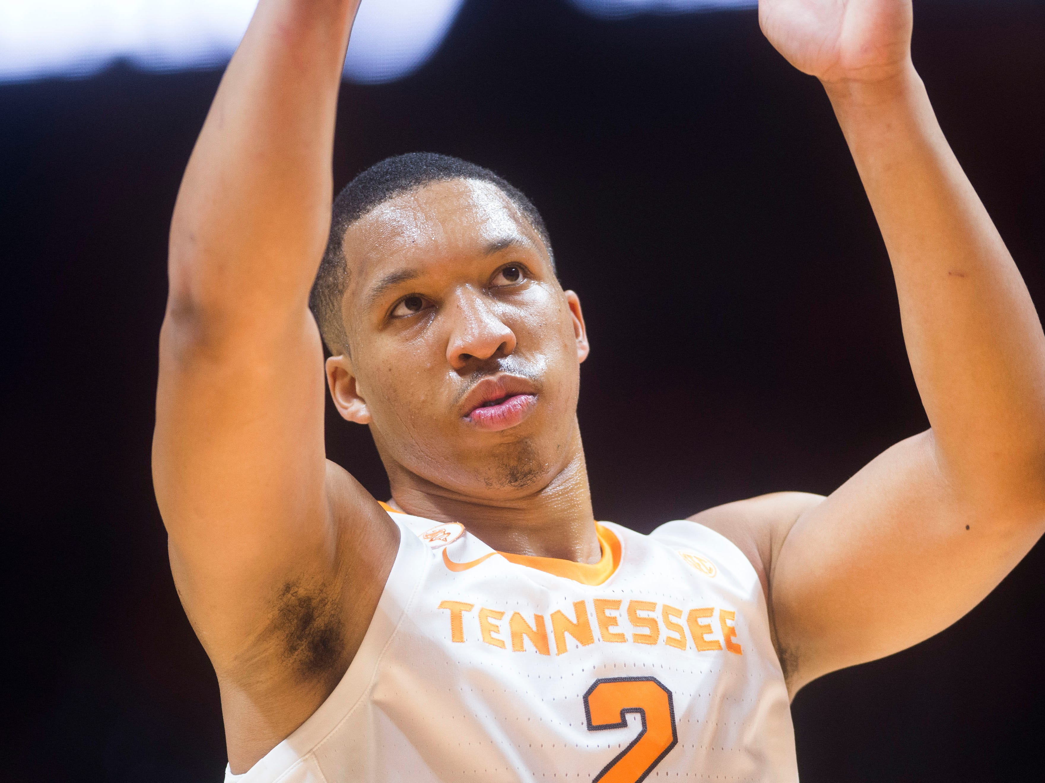 Tennessee's Grant Williams takes a foul shot during a game between Tennessee and Louisiana in Thompson-Boling Arena Friday, Nov. 9, 2018.