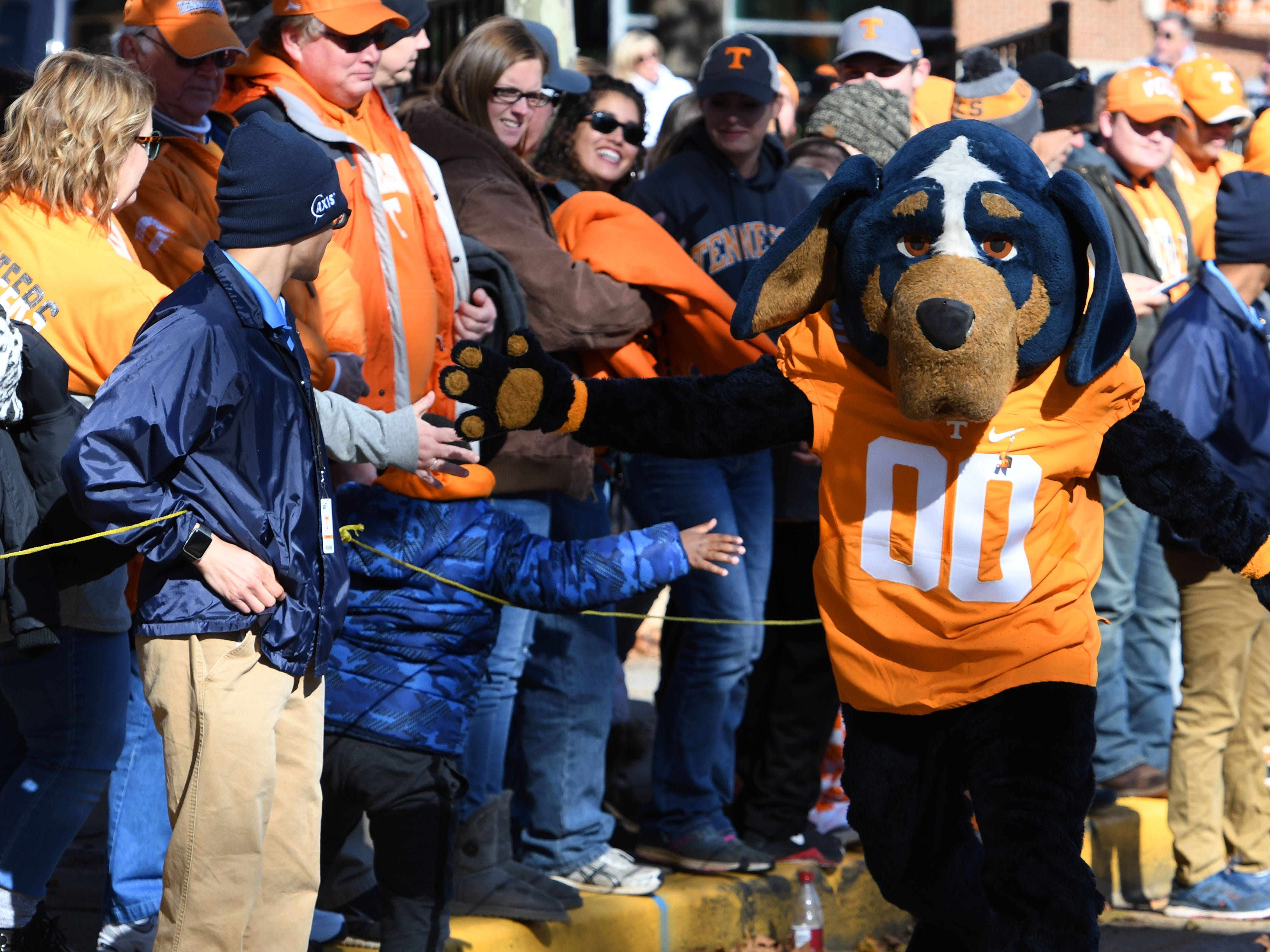 Smokey during the Vol Walk before the Kentucky game Saturday, November 10, 2018 at Neyland Stadium in Knoxville, Tenn.