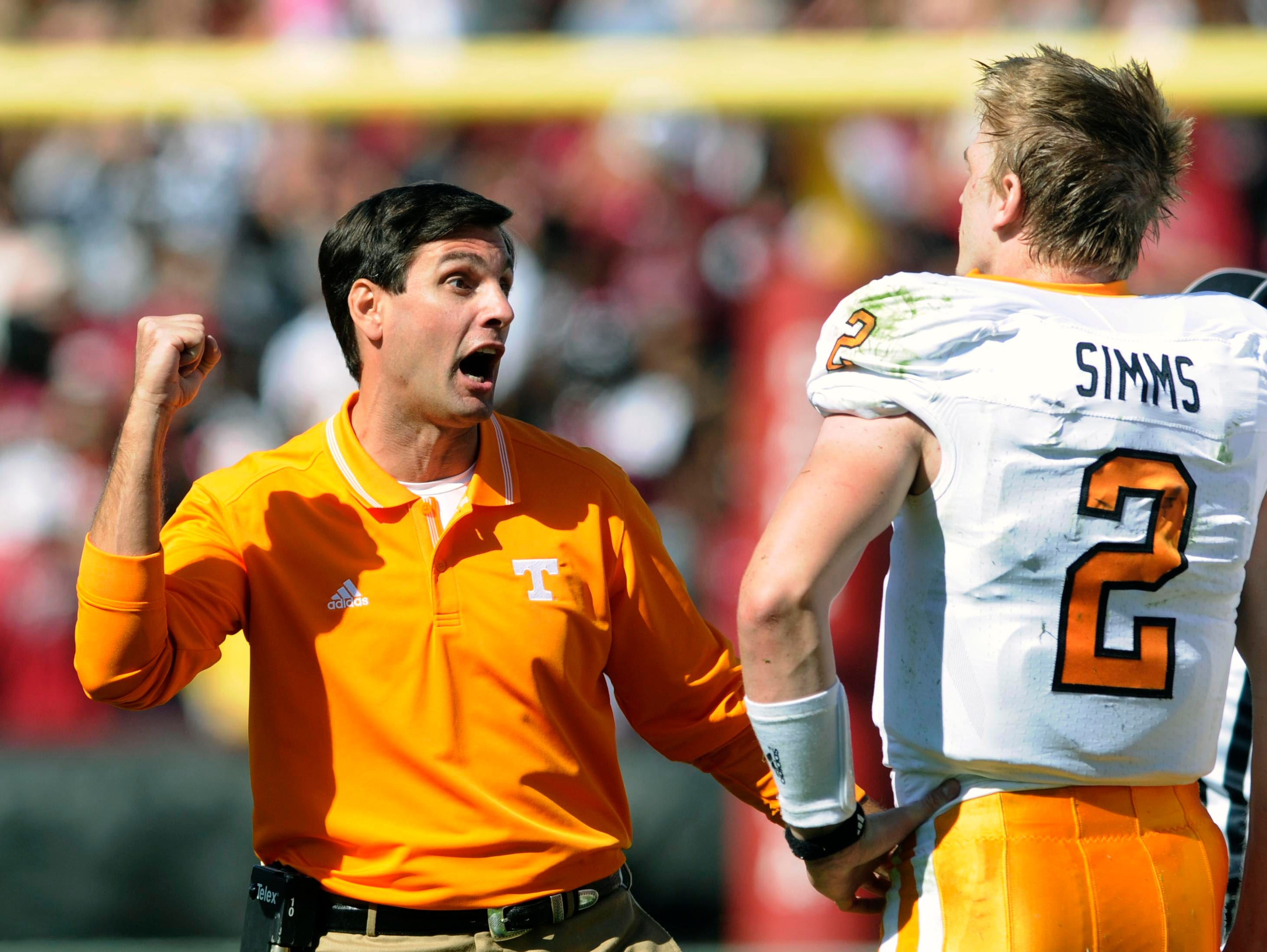 Tennessee head coach Derek Dooley was not pleased with quarterback Matt Simms (2) during the first half Saturday, Oct. 30, 2010 against the South Carolina Gamecocks in Williams-Brice Stadium in Columbia, S.C.
