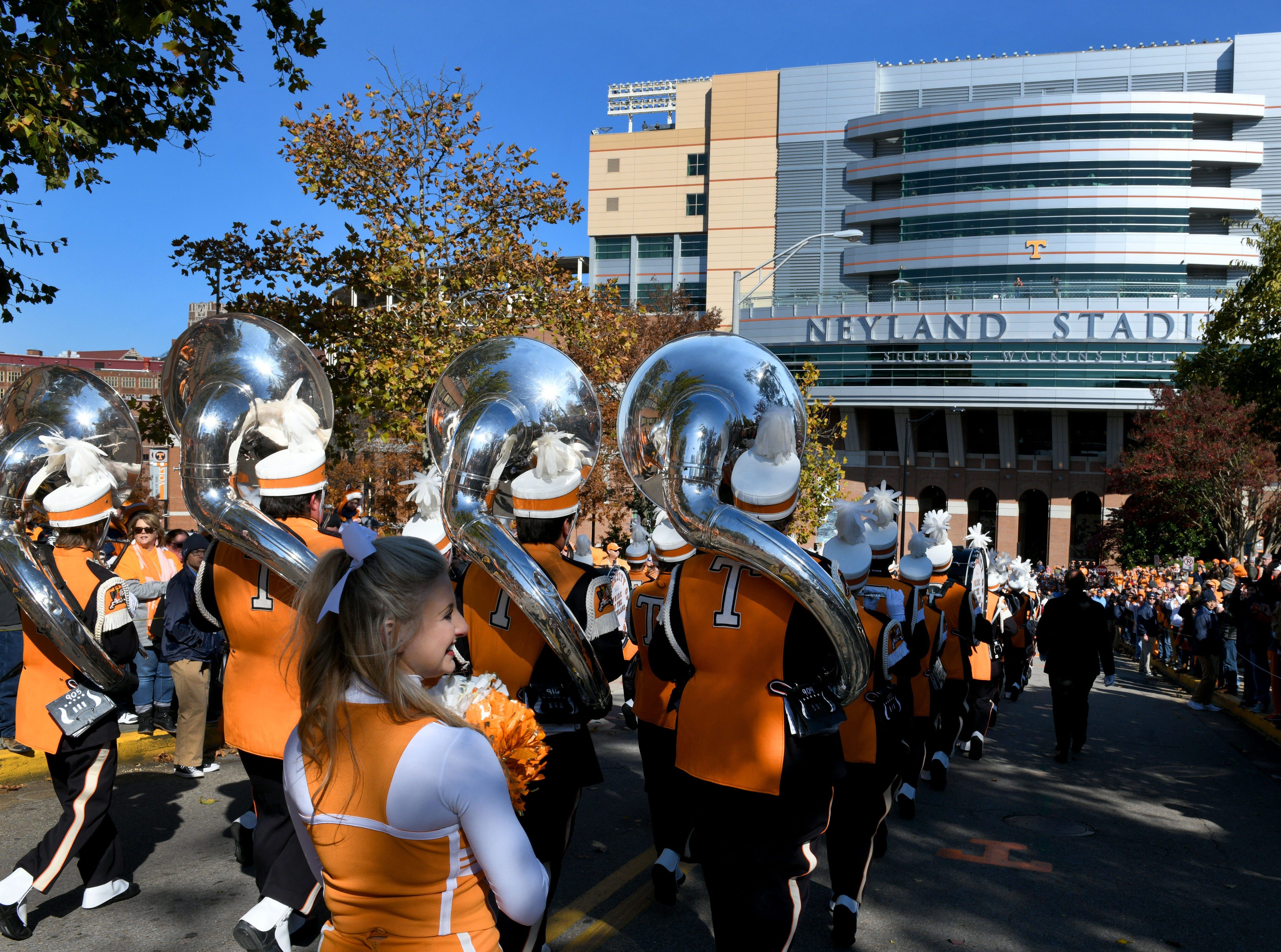 Tennessee pep band arriving for the Vol Walk before the Kentucky game Saturday, November 10, 2018 at Neyland Stadium in Knoxville, Tenn.