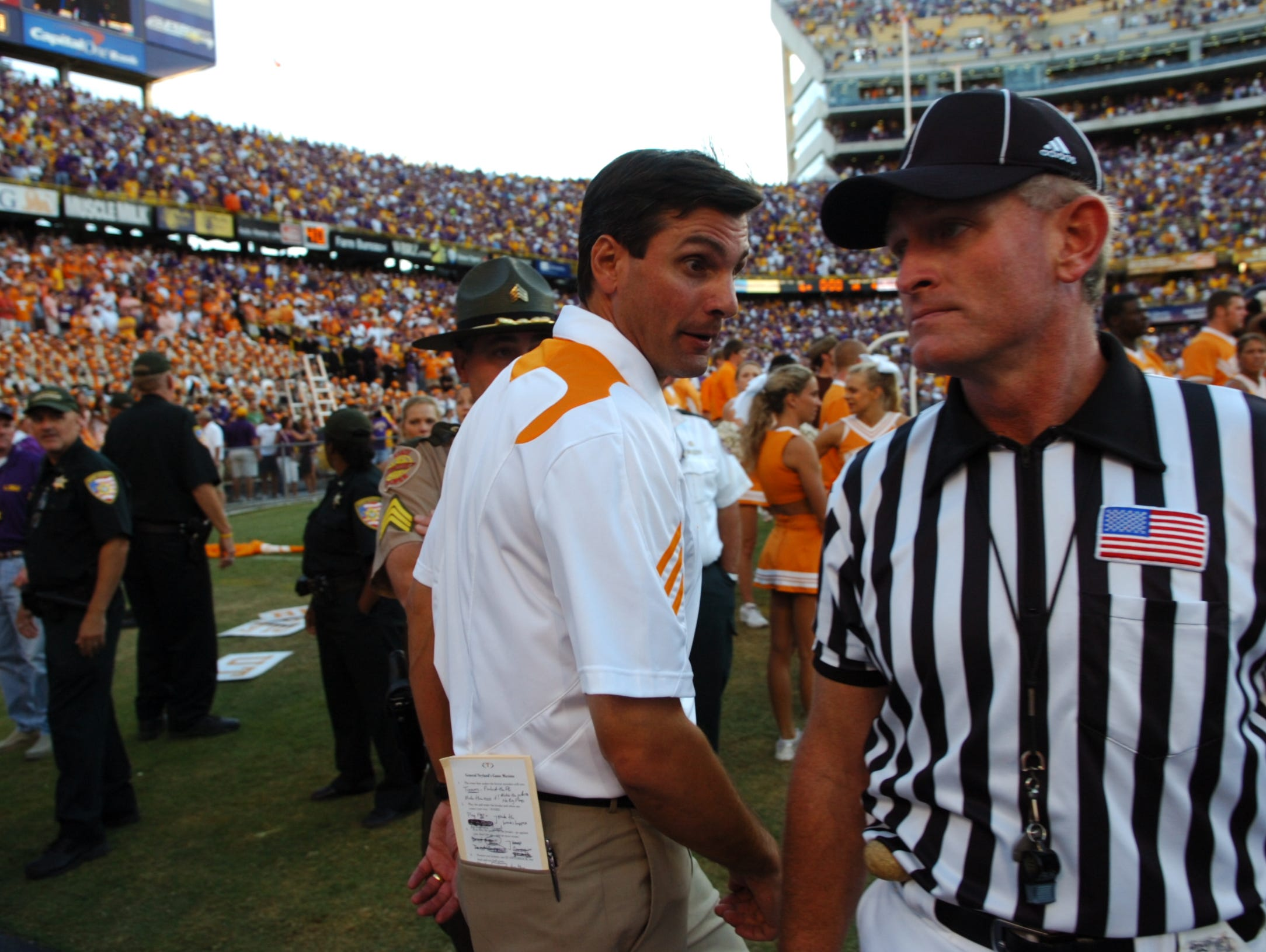 Tennesse head coach Derek Dooley reacts to referees as he is called back on to the field against LSU at Tiger Stadium in Baton Rouge, La. on Saturday, Oct. 2, 2010. UT lost the game 16-14 after a defensive penalty in the final play of the game.