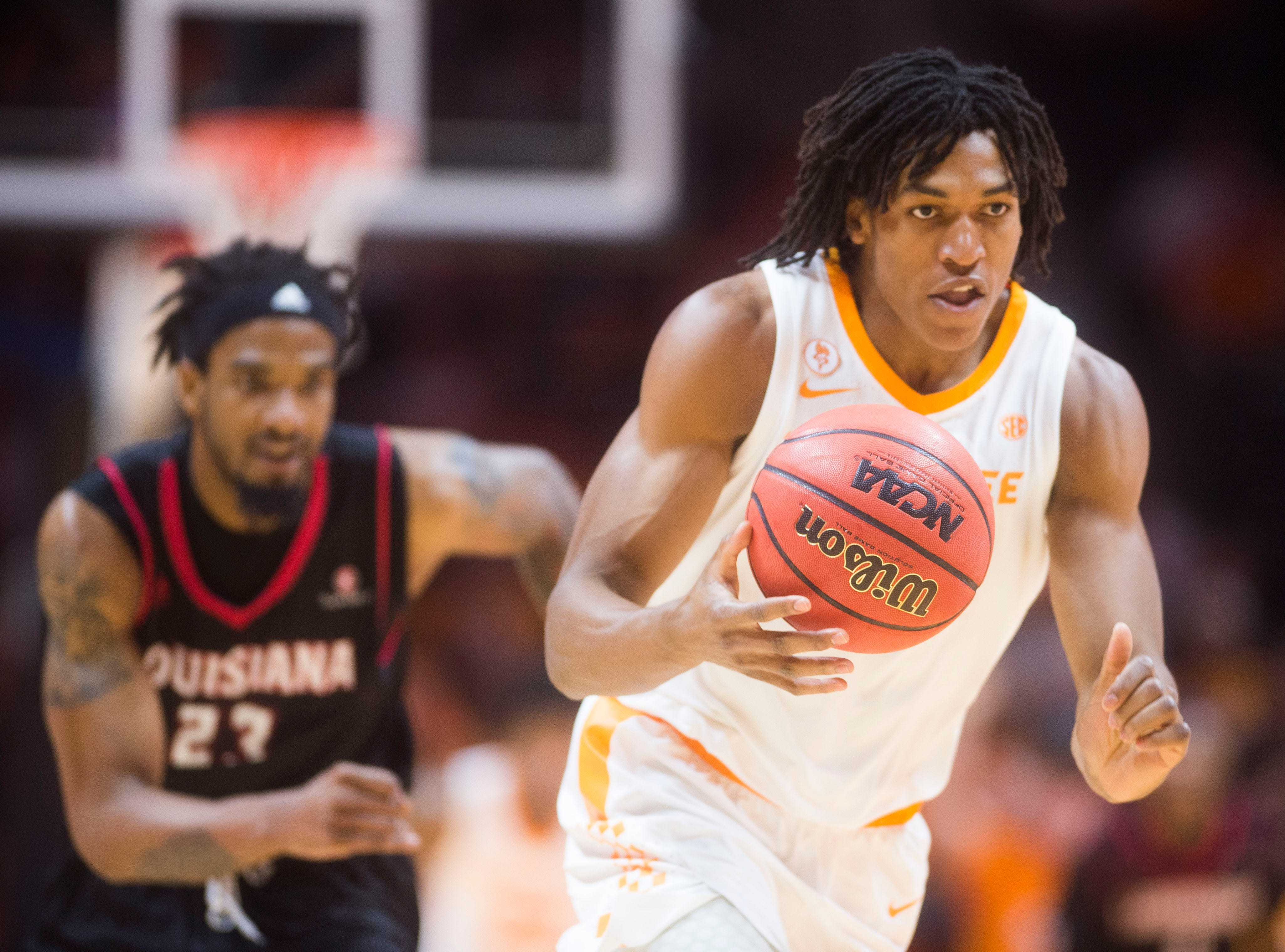 Tennessee's Yves Pons (35) charges down the court with the ball during a game between Tennessee and Louisiana in Thompson-Boling Arena Friday, Nov. 9, 2018. Tennessee defeated Louisiana 87-65.