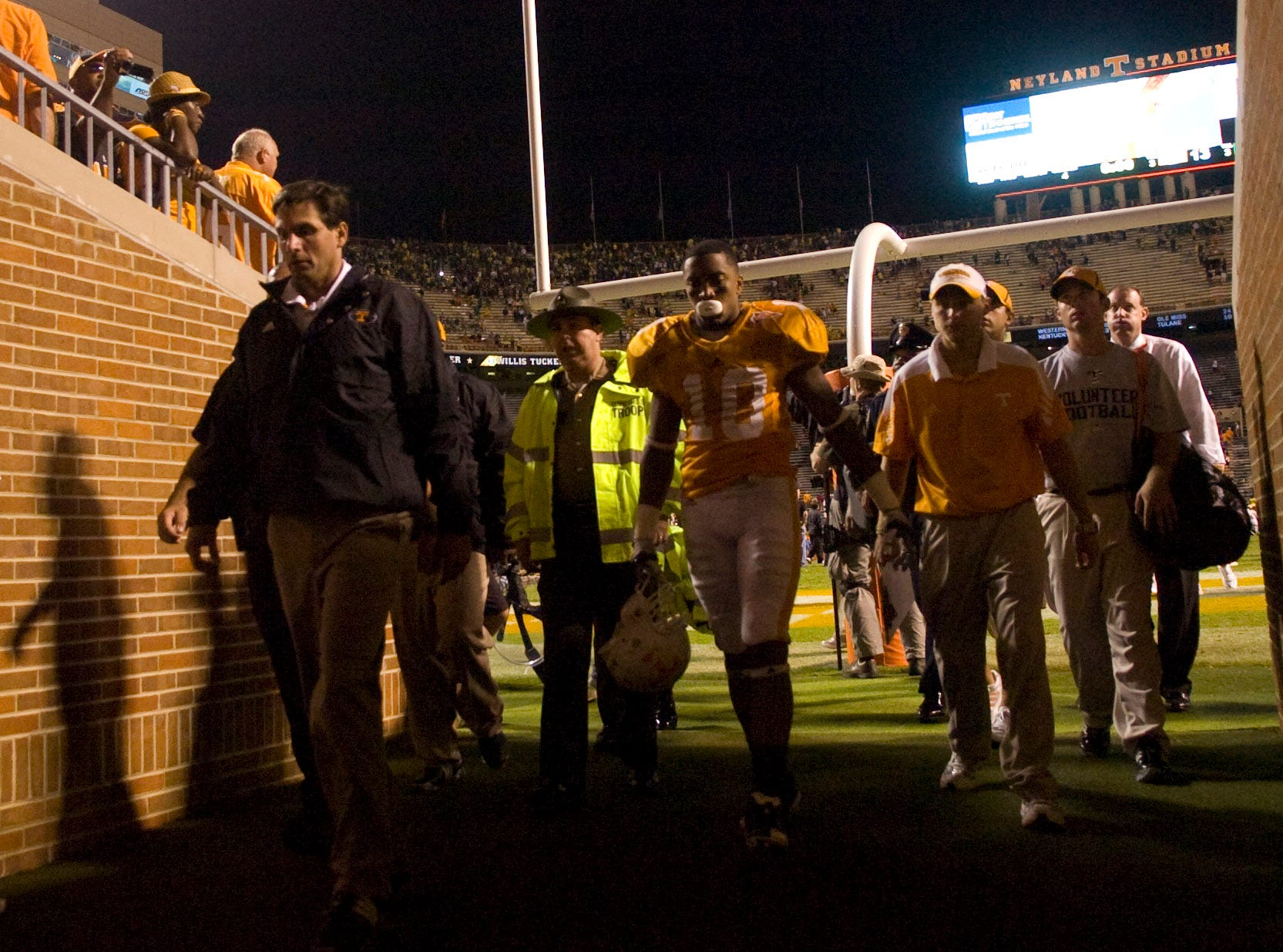 Tennessee head coach Derek Dooley leaves the field after the loss to Oregon at Neyland Stadium on Saturday, Sept. 11, 2010. UT lost the game 48-13.