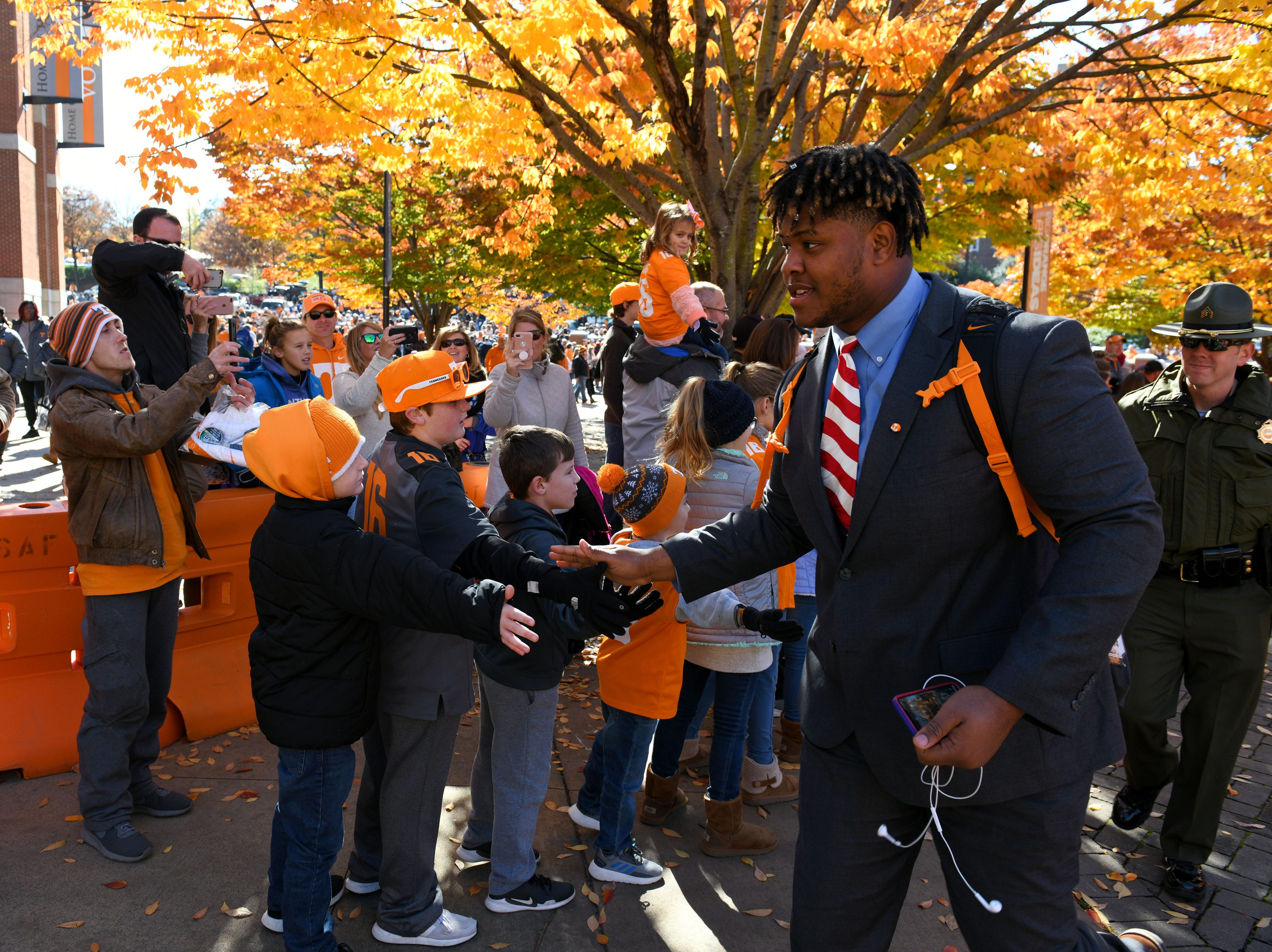 Tennessee players and fans during the Vol Walk before the Kentucky game Saturday, November 10, 2018 at Neyland Stadium in Knoxville, Tenn.
