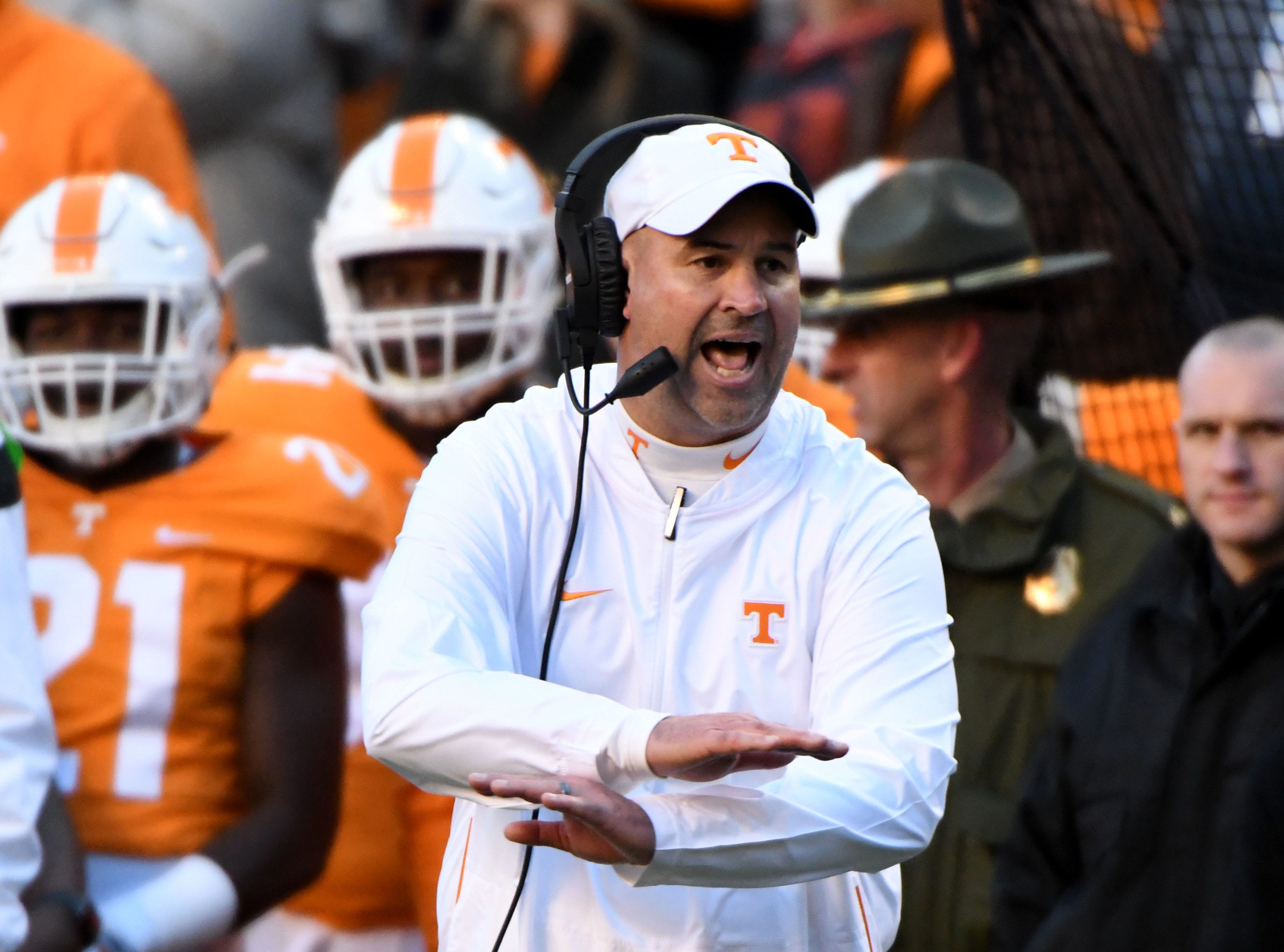Tennessee Head Coach Jeremy Pruitt during first half action in the Kentucky game Saturday, November 10, 2018 at Neyland Stadium in Knoxville, Tenn.