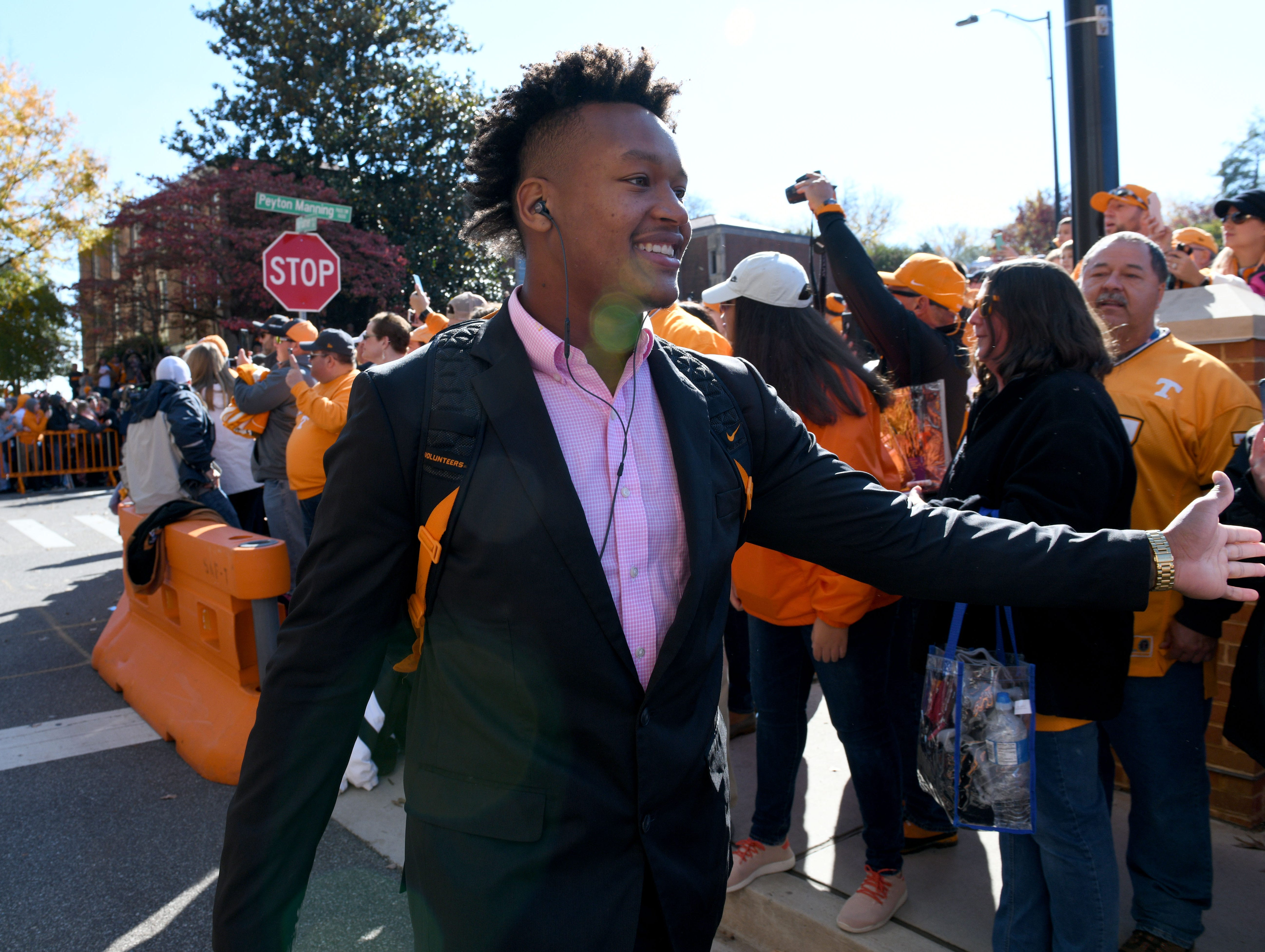 Tennessee players during the Vol Walk before the Kentucky game Saturday, November 10, 2018 at Neyland Stadium in Knoxville, Tenn.