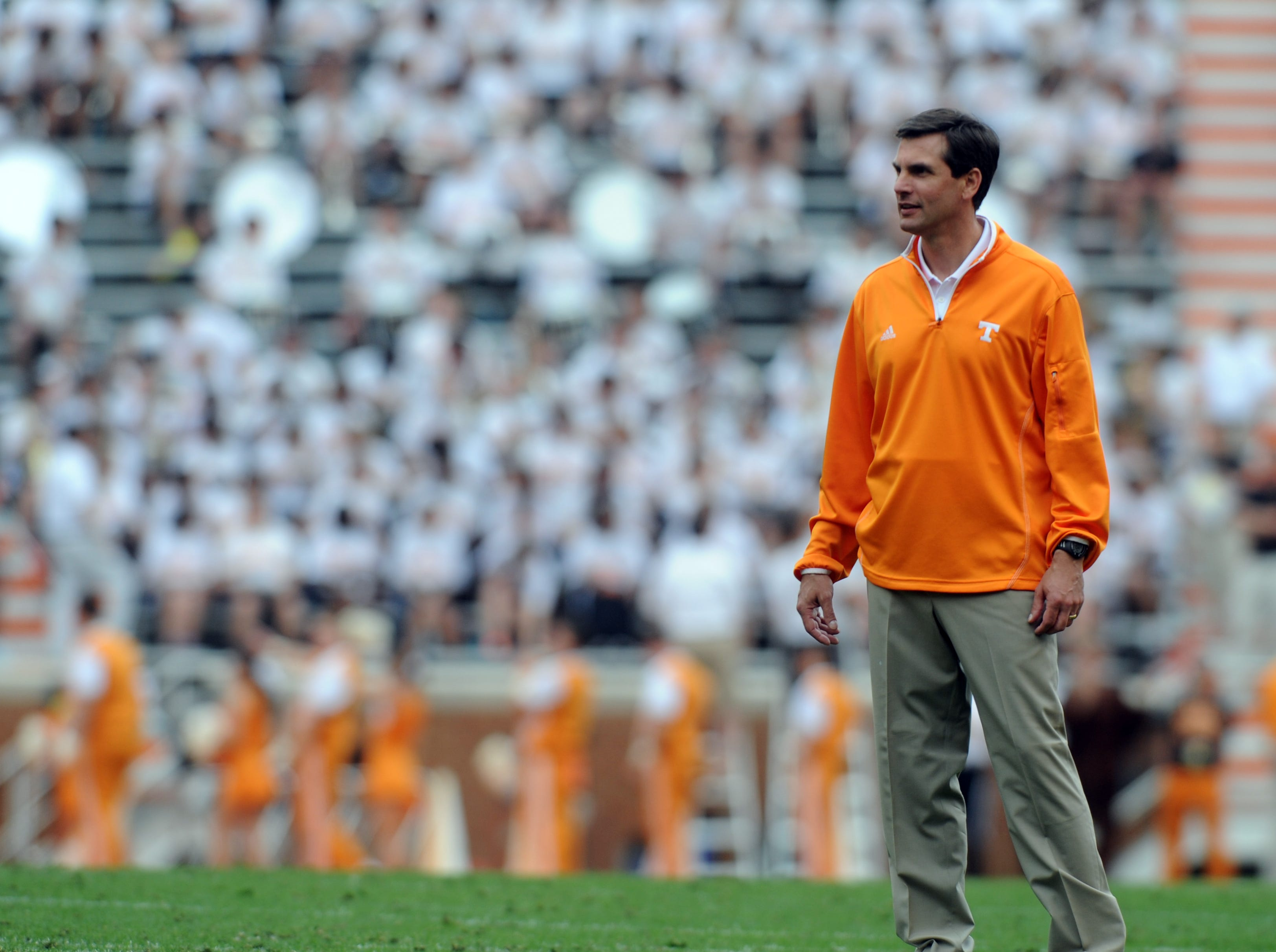 Tennessee head coach Derek Dooley looks on during the Orange and White Game at Neyland Stadium Saturday, April 21, 2012.