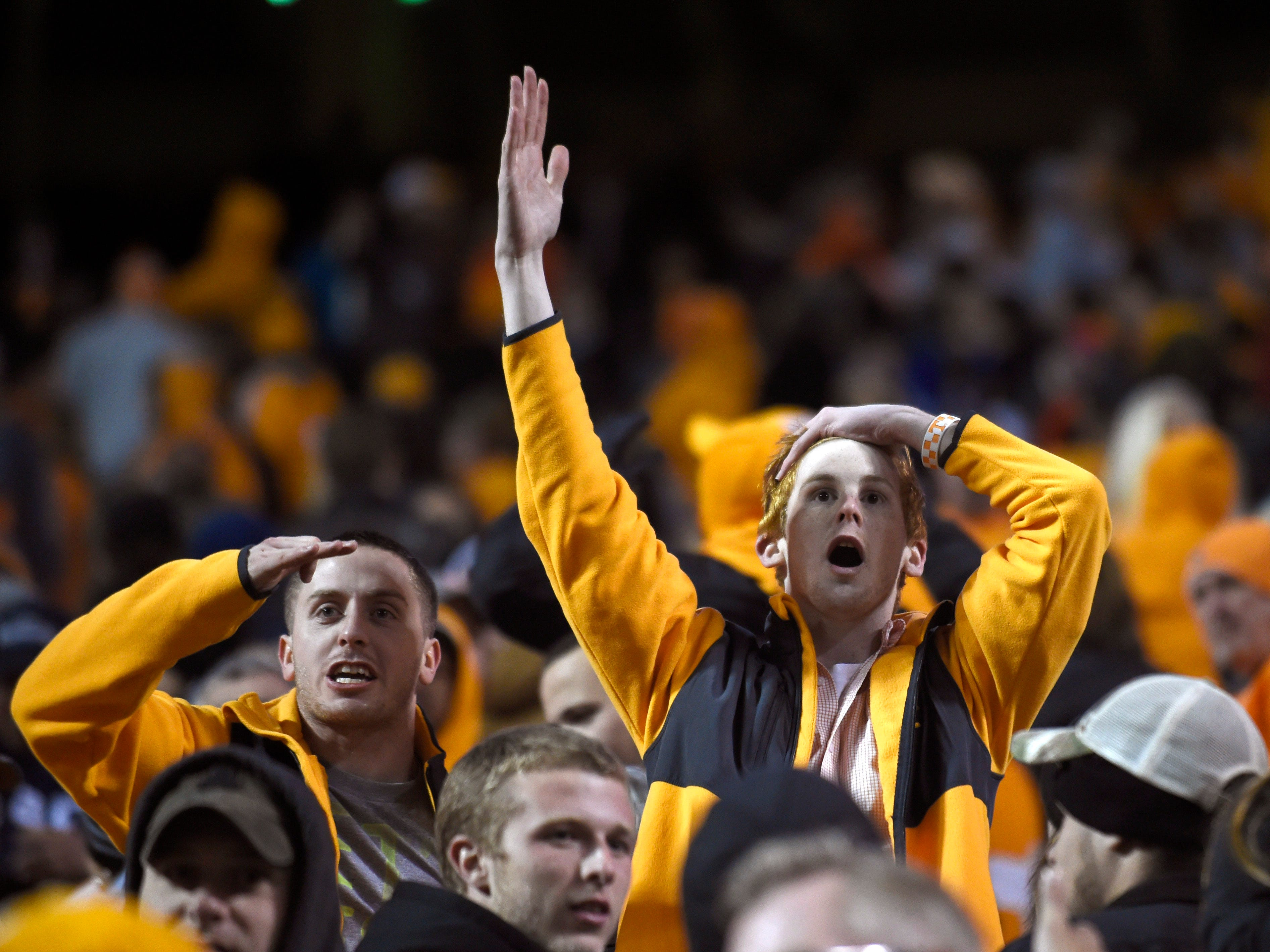 Tennessee fans react to the second onside kick ruling in favor of Missouri during their college football game at Neyland Stadium in Knoxville, Tenn., Saturday, Nov. 22, 2014.  Missouri won 29-21.