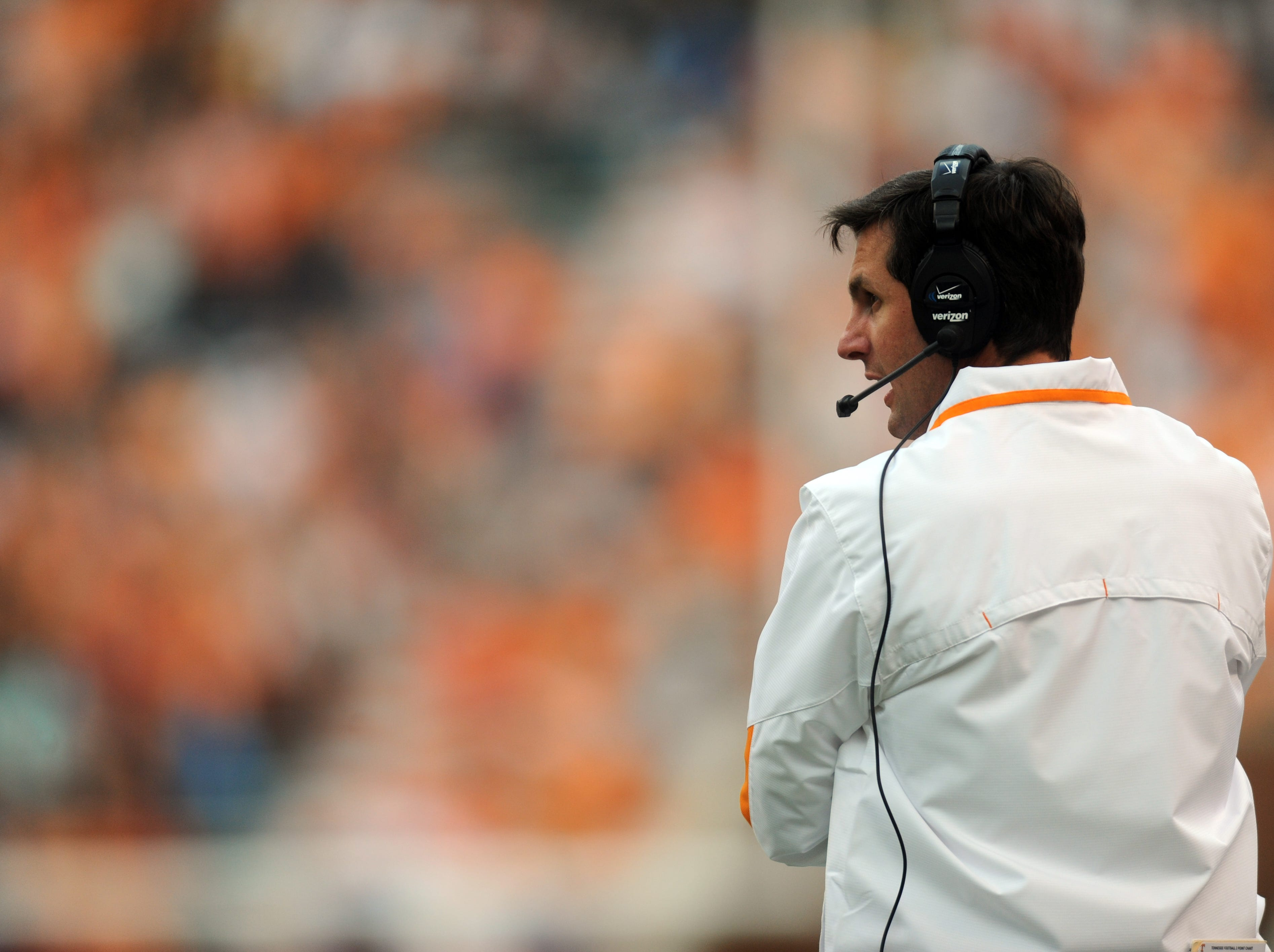 Tennessee head coach Derek Dooley looks on as the Vols take on the Georgia State Panthers at Neyland Stadium Saturday, Sept. 8, 2012. Tennessee 51-13 over Georgia State.